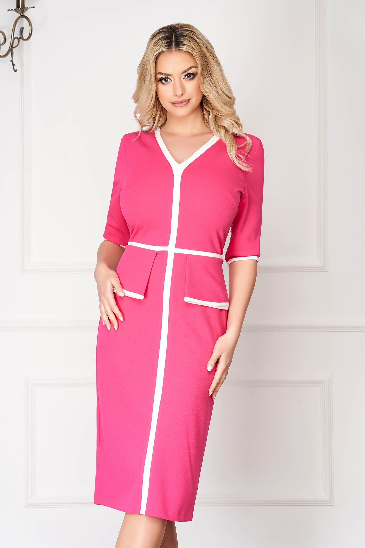 StarShinerS pink office midi pencil dress with 3/4 sleeves