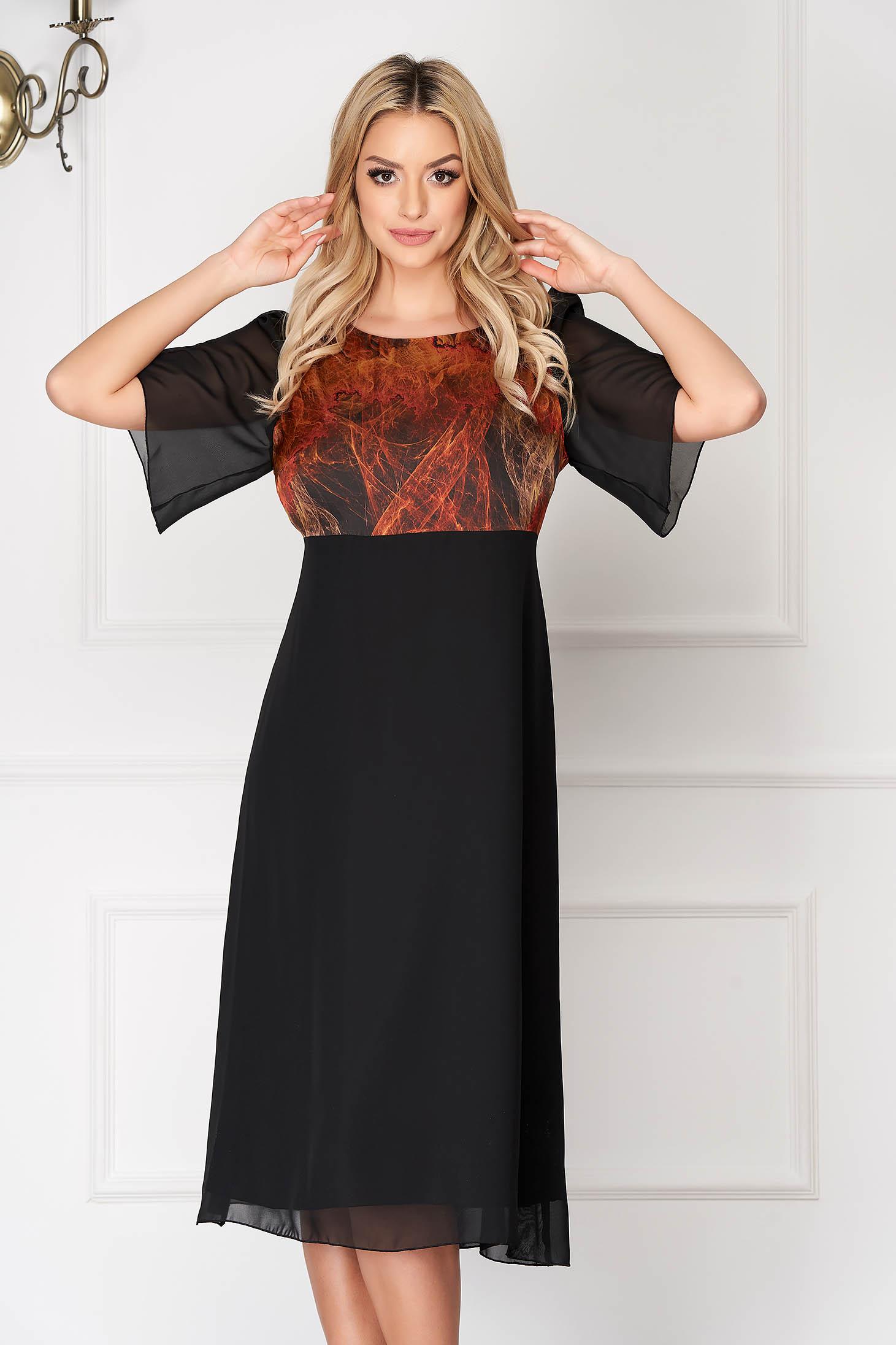 Black elegant midi dress straight cut from veil fabric