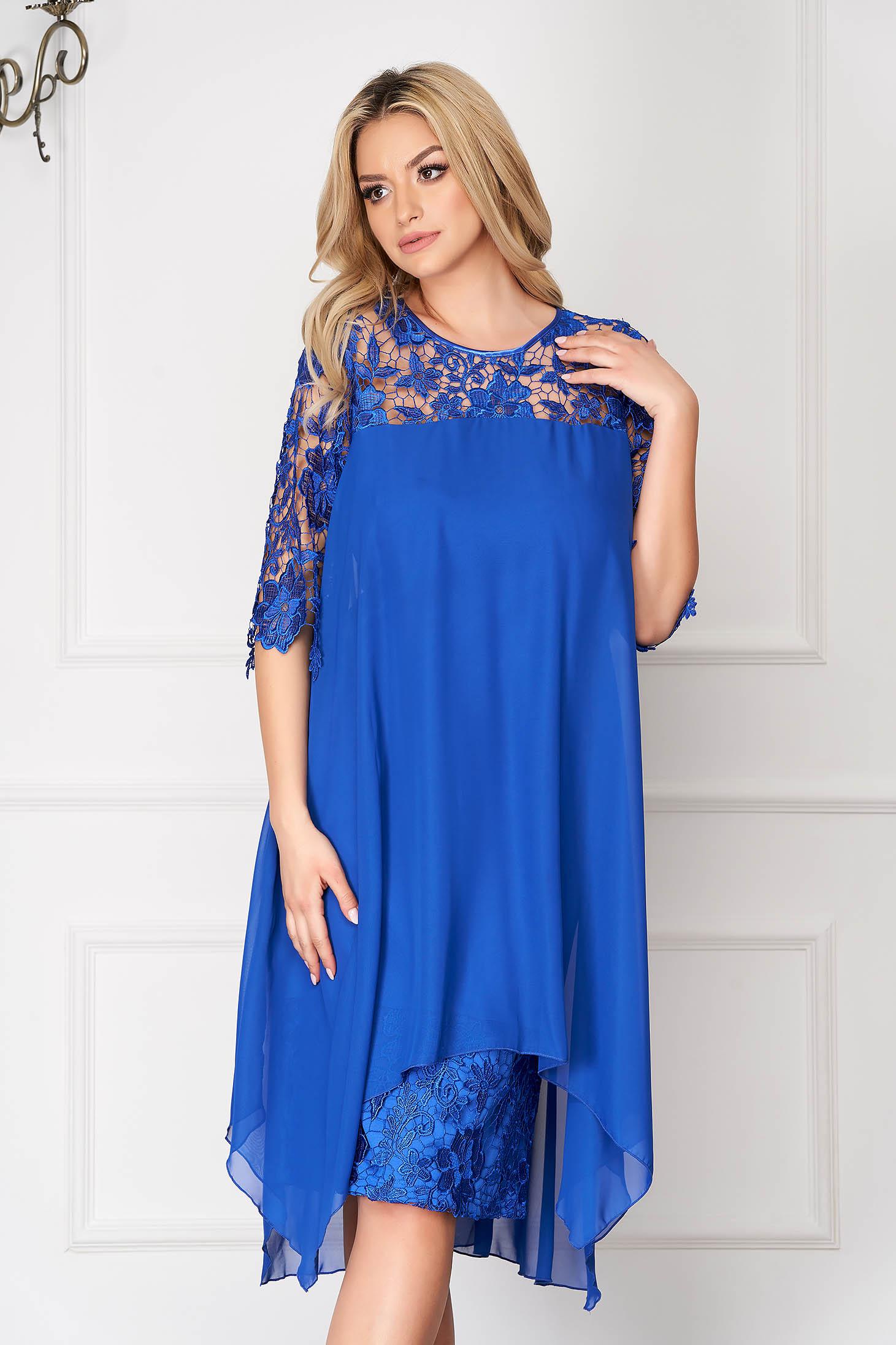 Rochie albastra midi de ocazie tip creion din dantela cu suprapunere cu voal
