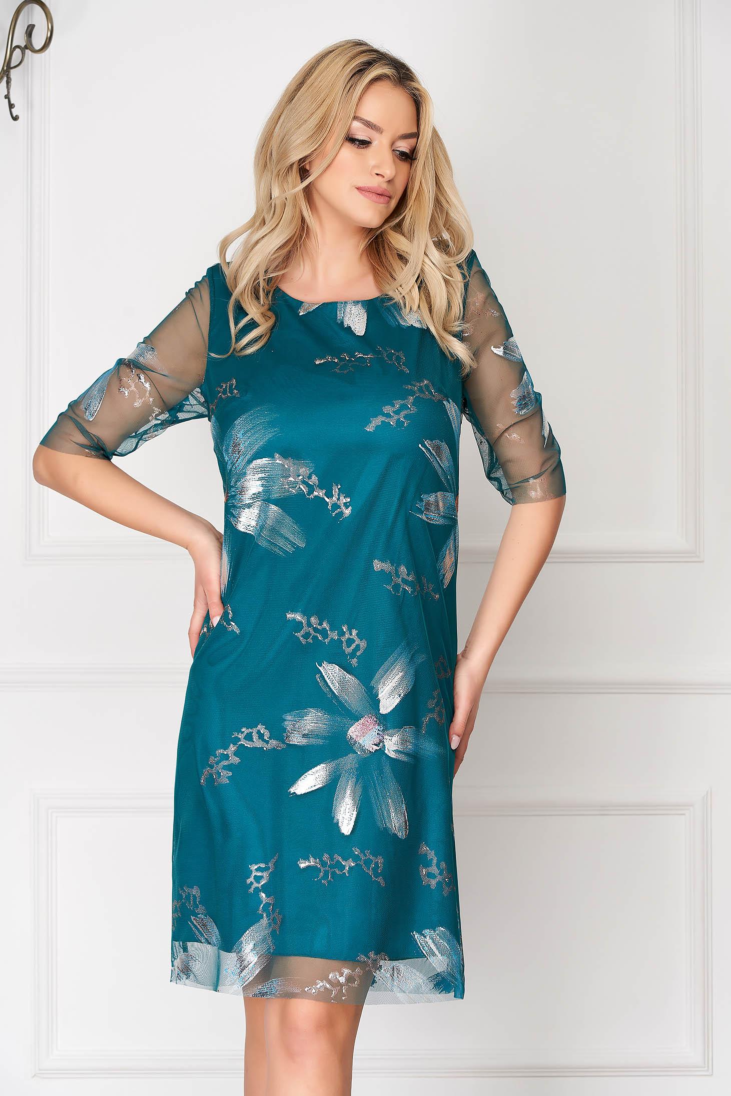 Rochie turcoaz eleganta scurta din voal cu un croi drept si imprimeuri florale