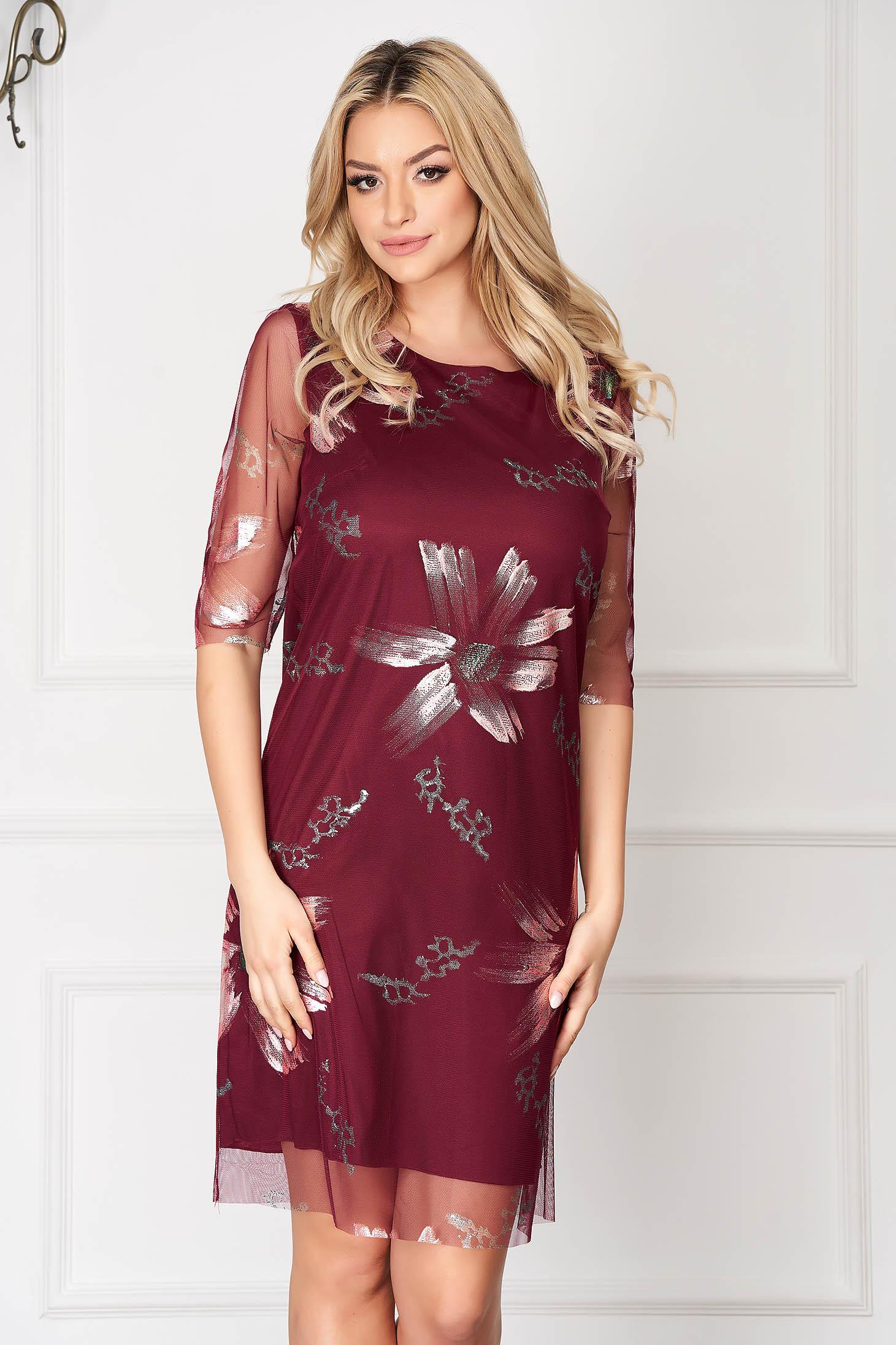 Burgundy elegáns rövid ruha egyenes szabás muszlinból virágmintás díszítéssel