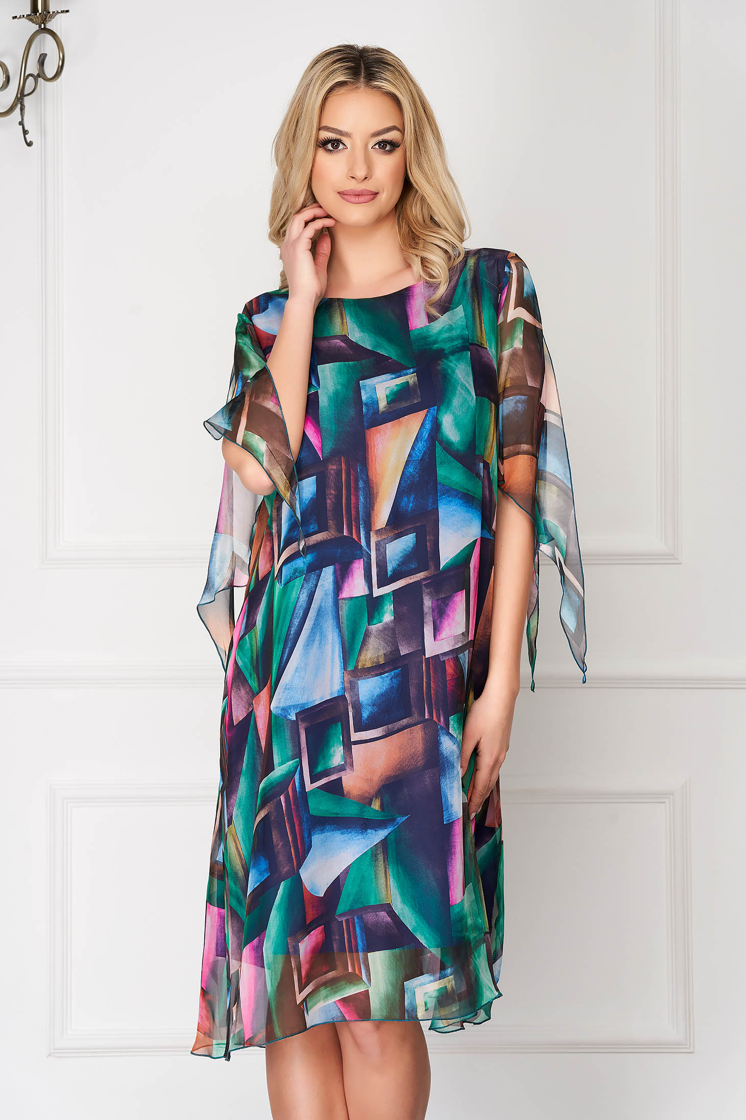 Green asymmetrical office dress straight with floral prints with veil sleeves voile overlay