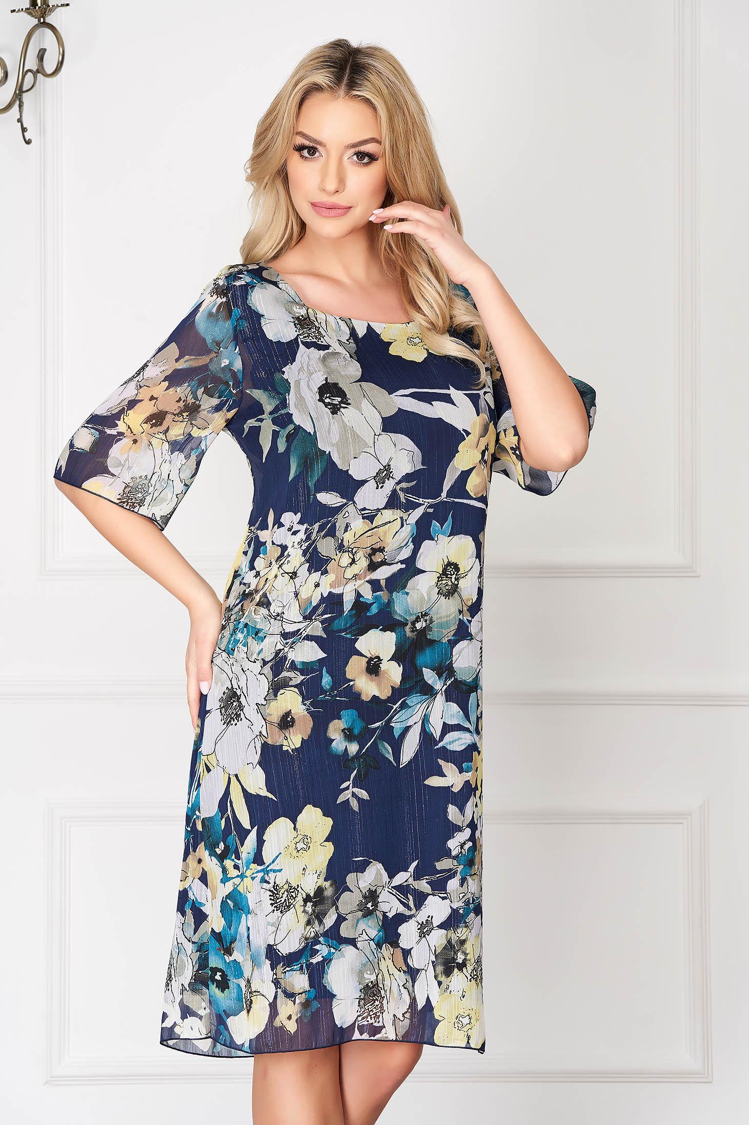 Rochie albastru-inchis eleganta midi din voal cu un croi drept si fir lame