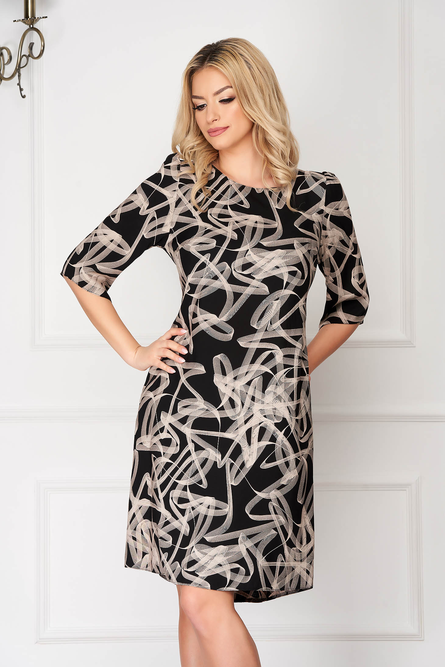 Black dress with graphic print with 3/4 sleeves office a-line short cut