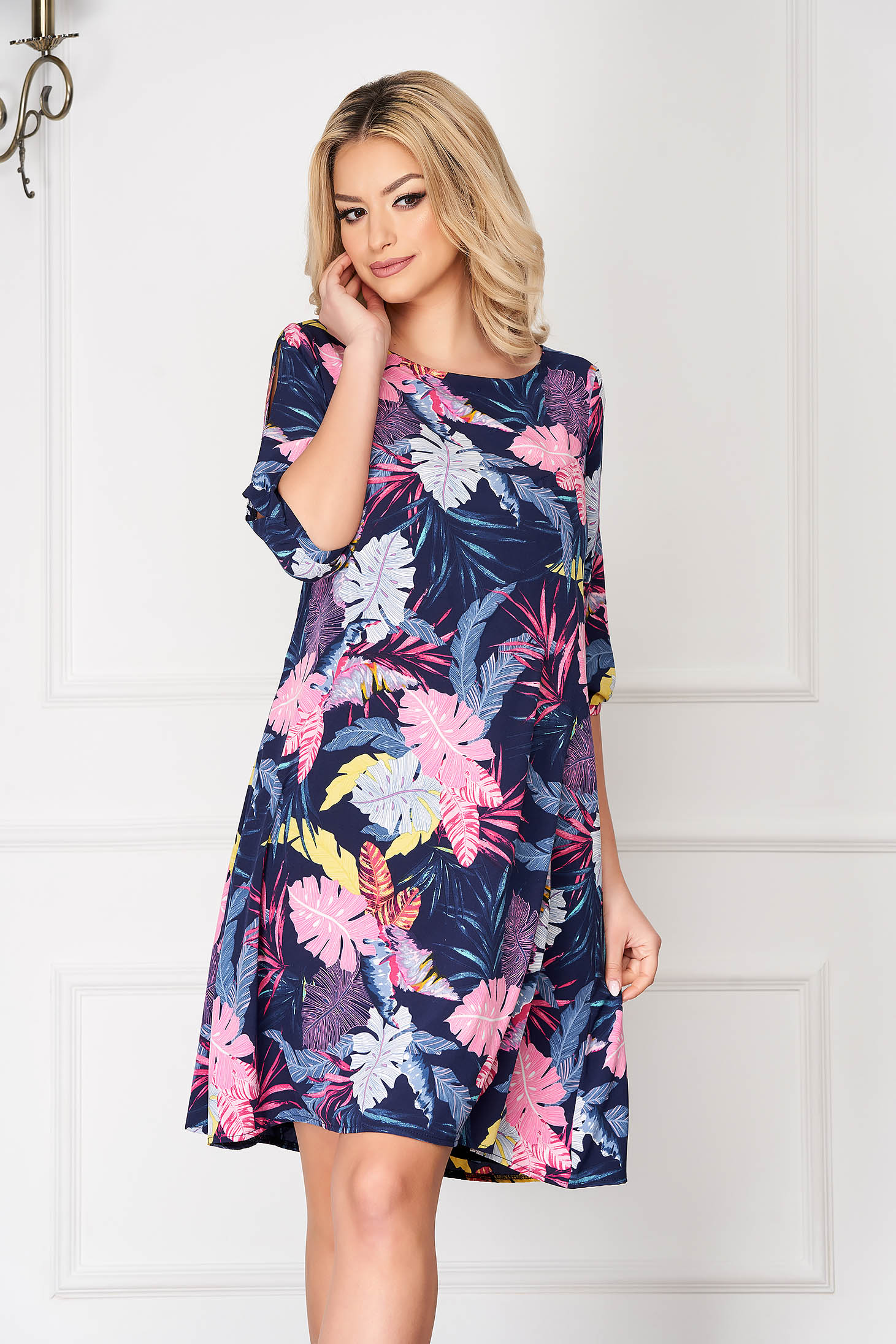 StarShinerS darkblue elegant midi flared dress with pockets with floral print