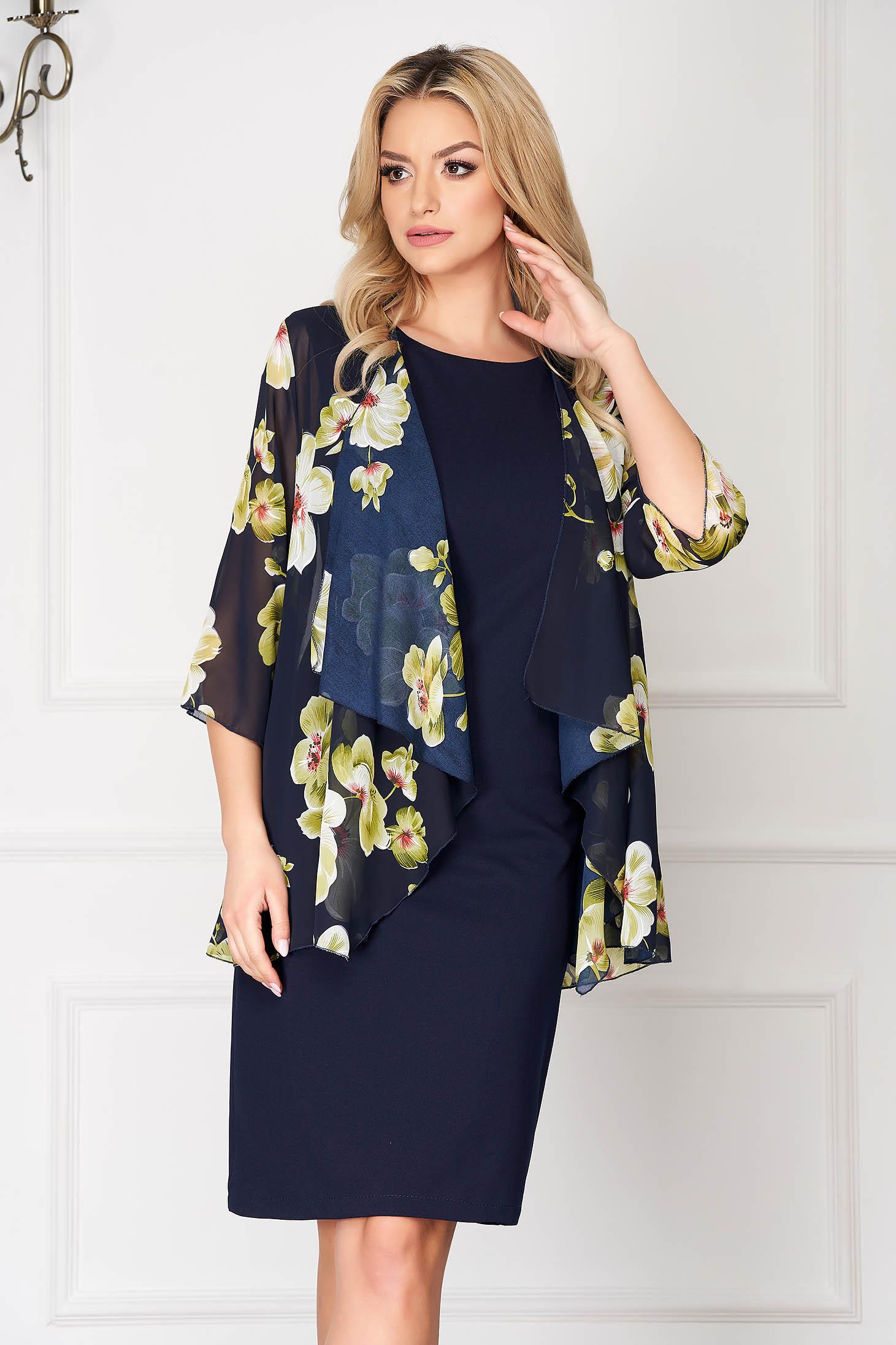 StarShinerS lightgreen elegant midi dress straight cloth voile overlay