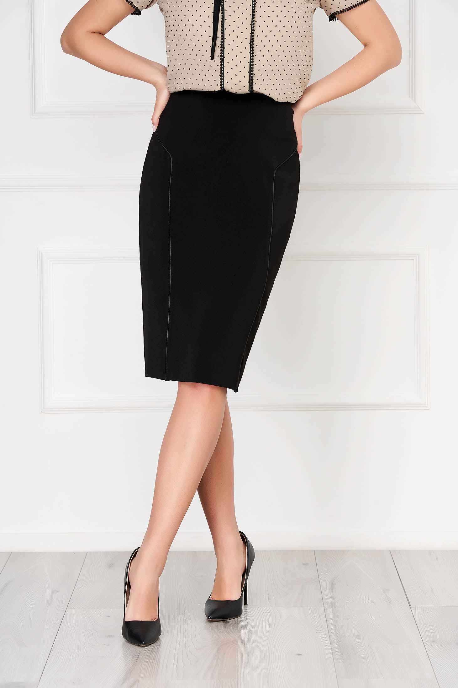 Black skirt office midi pencil cloth with faux leather details