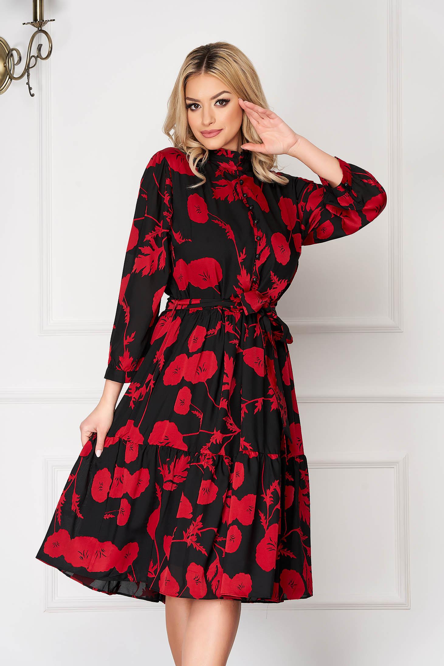 Rochie rosie eleganta in clos scurta cu imprimeuri florale accesorizata cu cordon cu maneci prinse in elastic