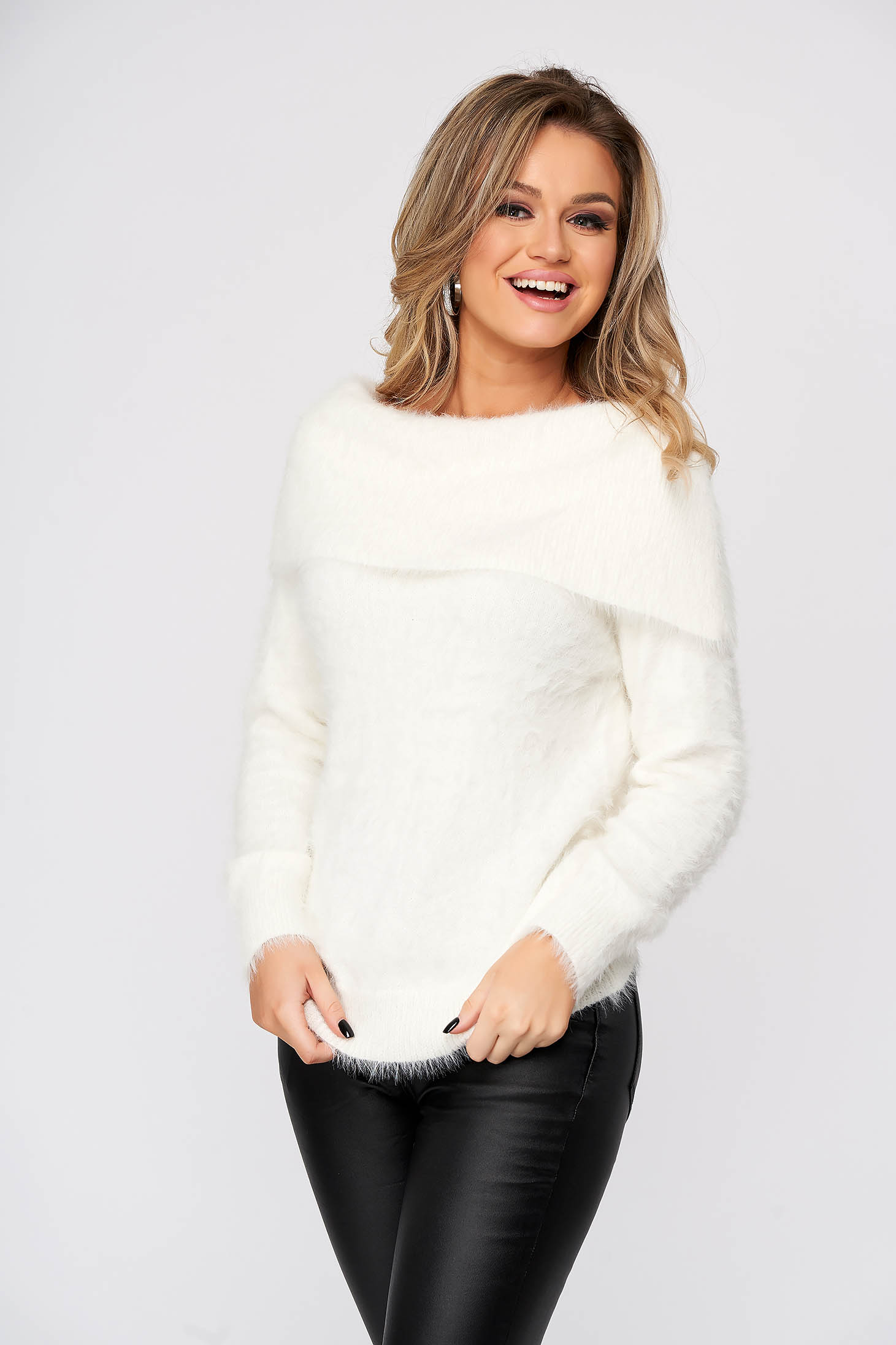 White sweater casual tented from fluffy fabric