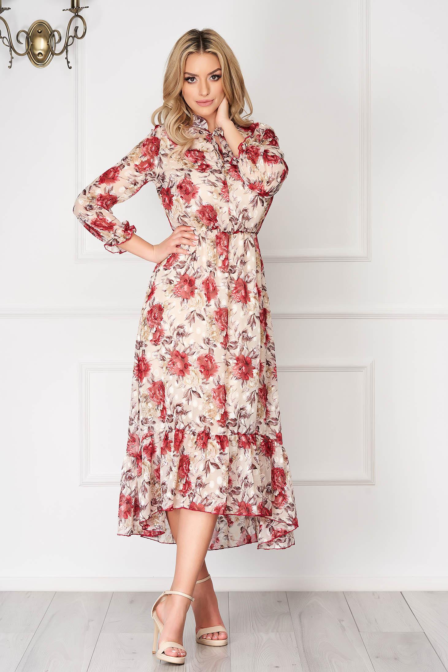 Rochie crem asimetrica eleganta din voal cu imprimeuri florale cu elastic in talie