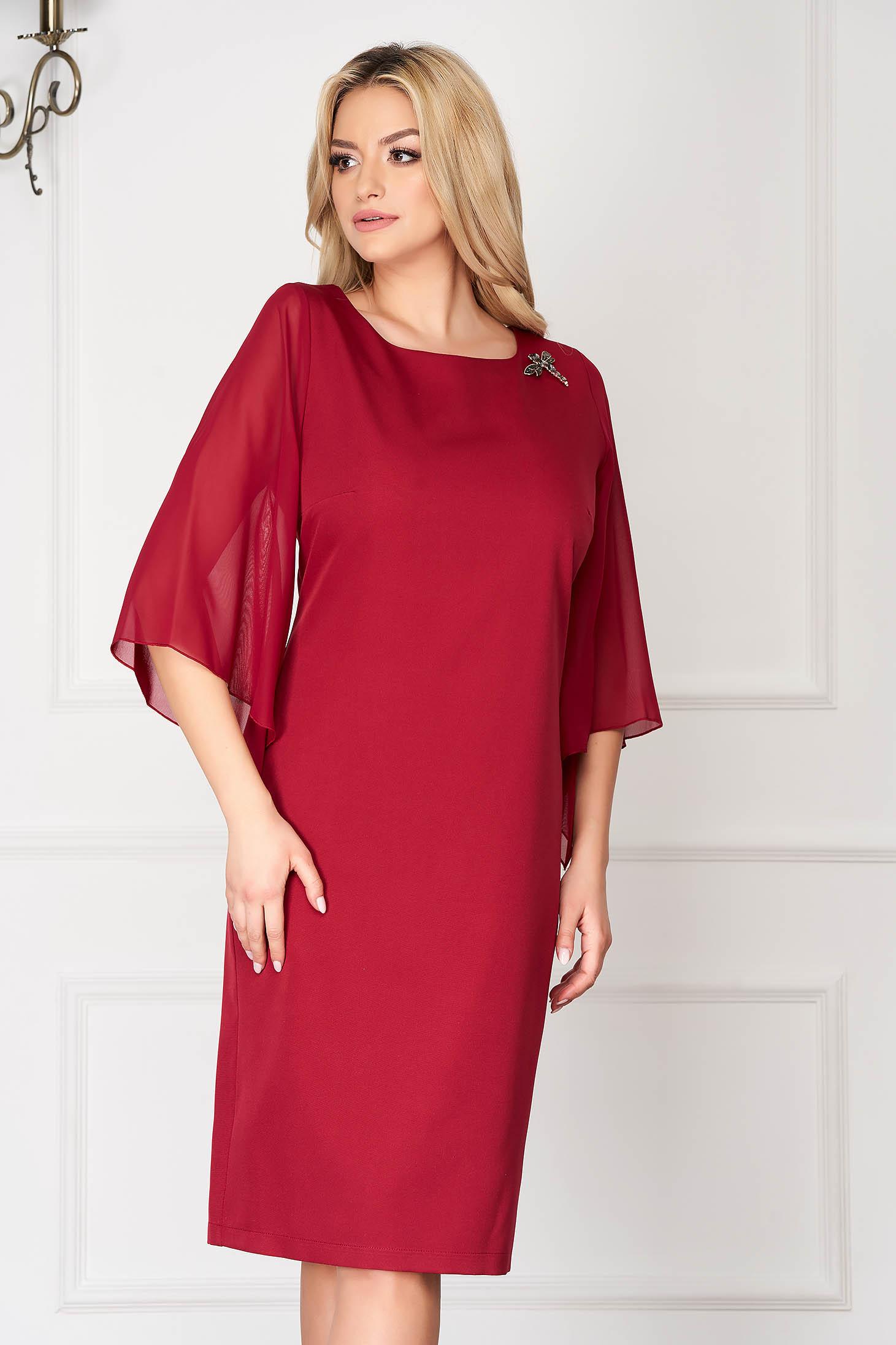 Burgundy elegant midi dress straight cut with veil sleeves cloth fabric