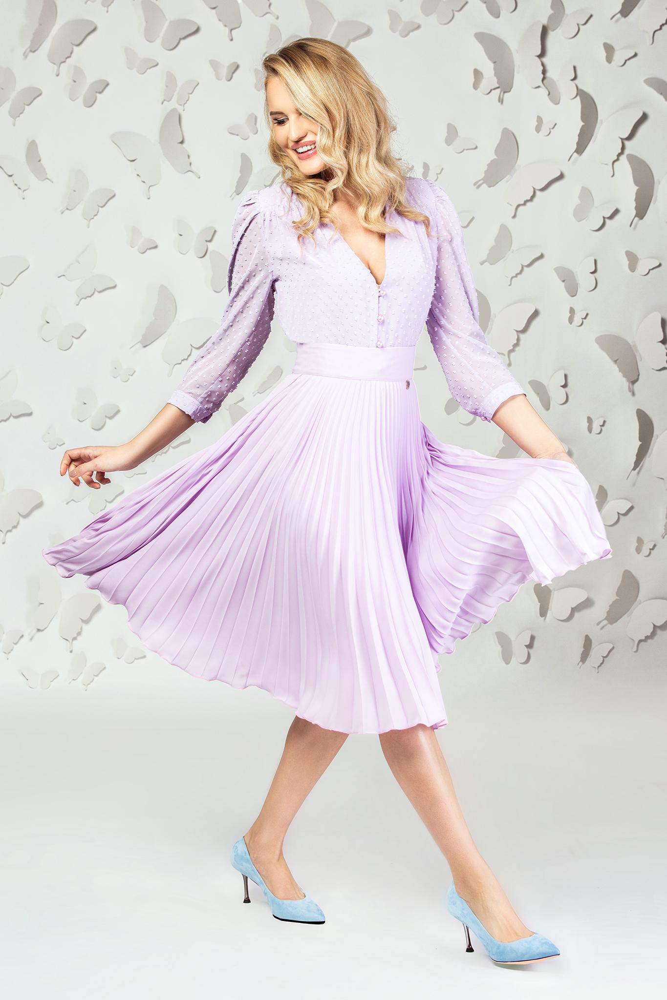 Fusta PrettyGirl lila eleganta midi plisata in clos din voal captusita pe interior