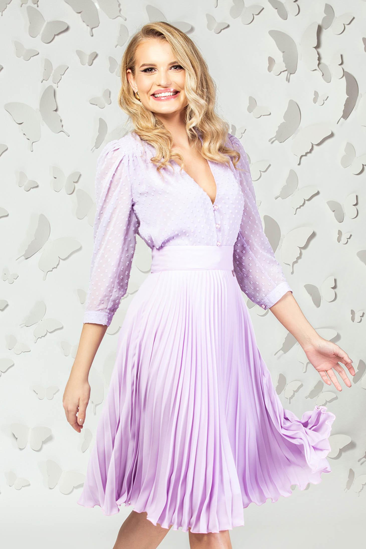 Lila women`s blouse elegant short cut from veil fabric plumeti