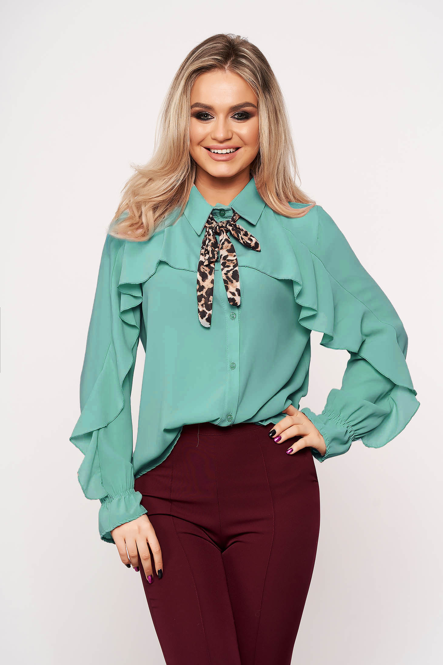 Turquoise women`s shirt bow accessory office animal print from veil fabric