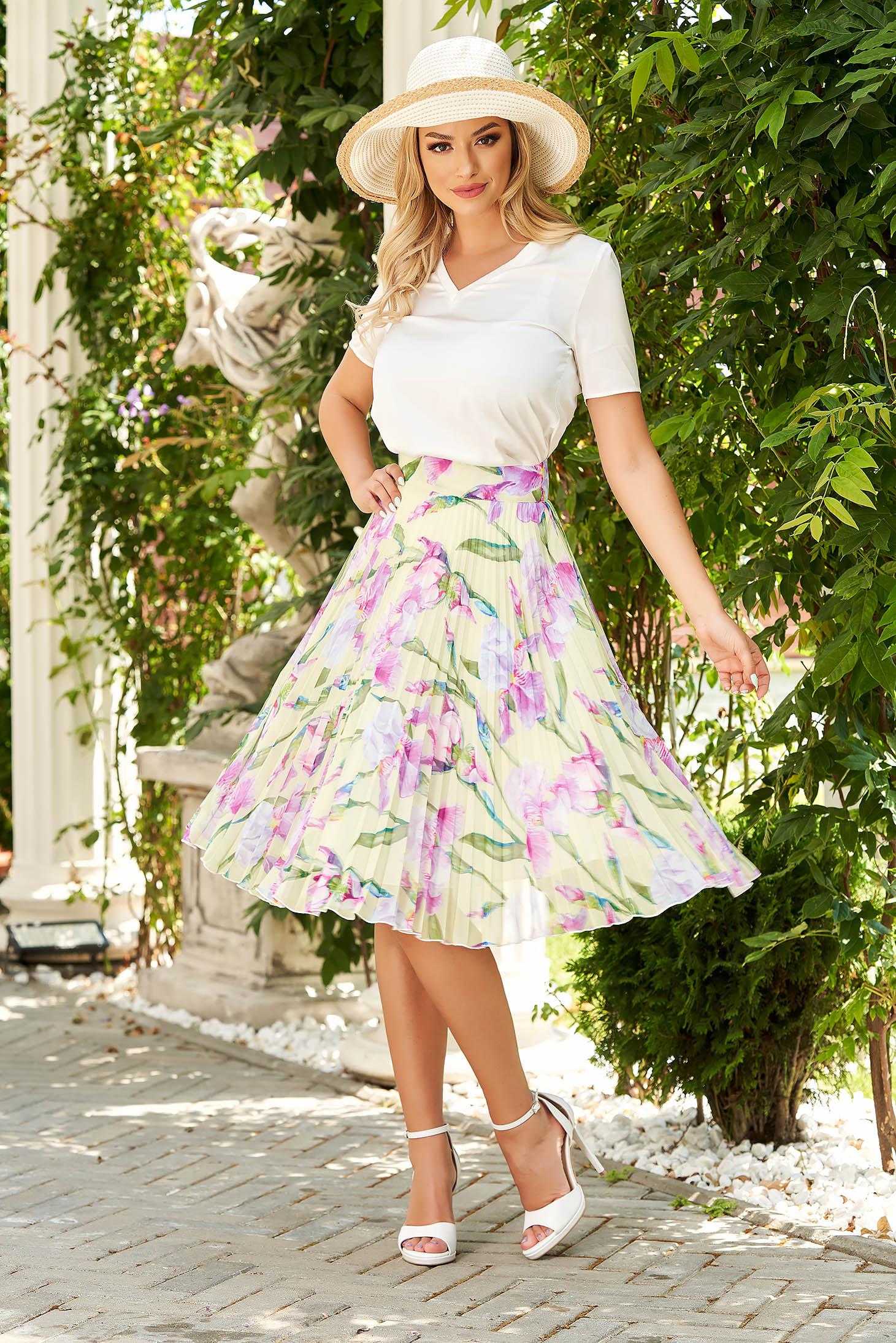 Office short cut flared short sleeve white women`s blouse