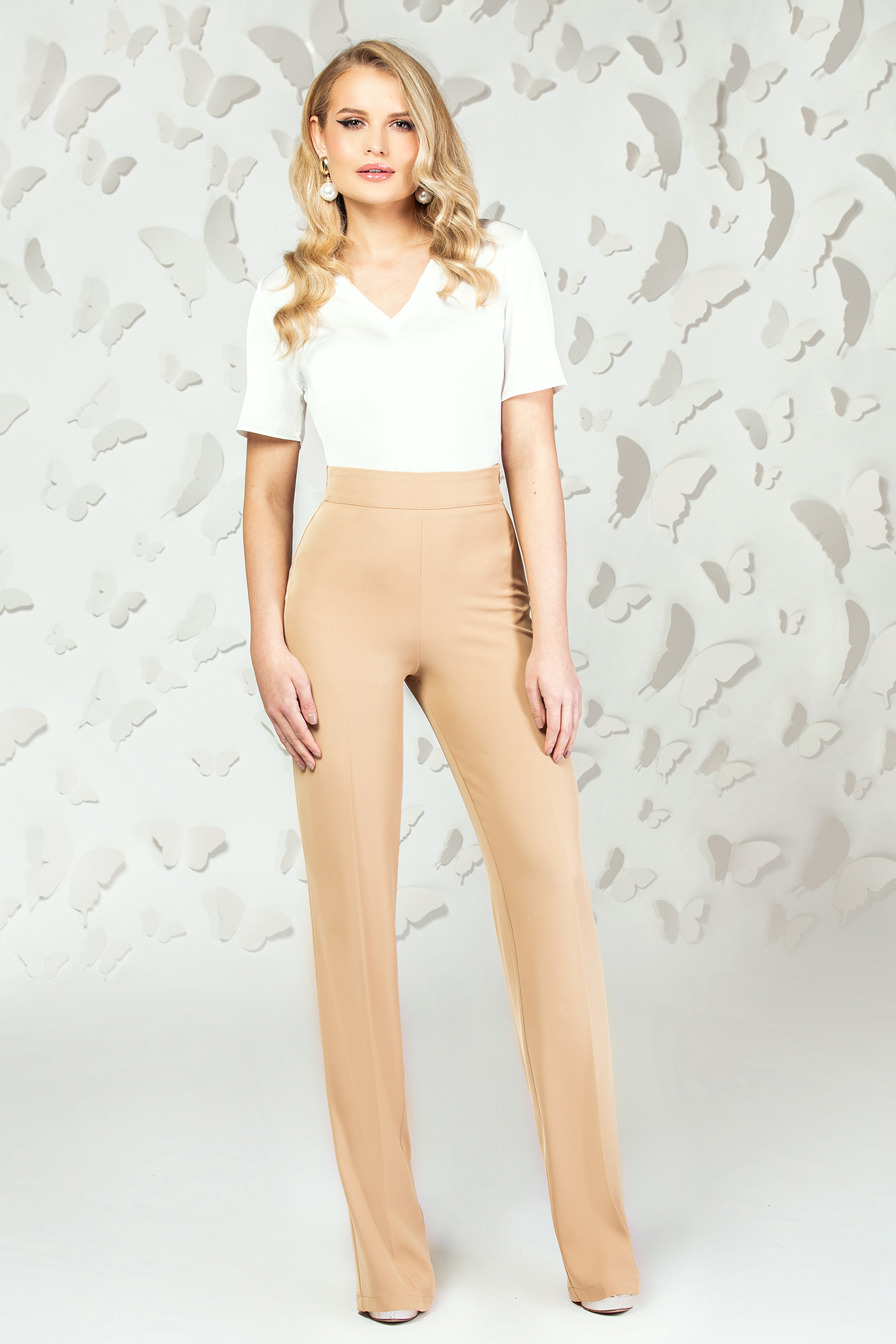 Cream elegant flared high waisted trousers