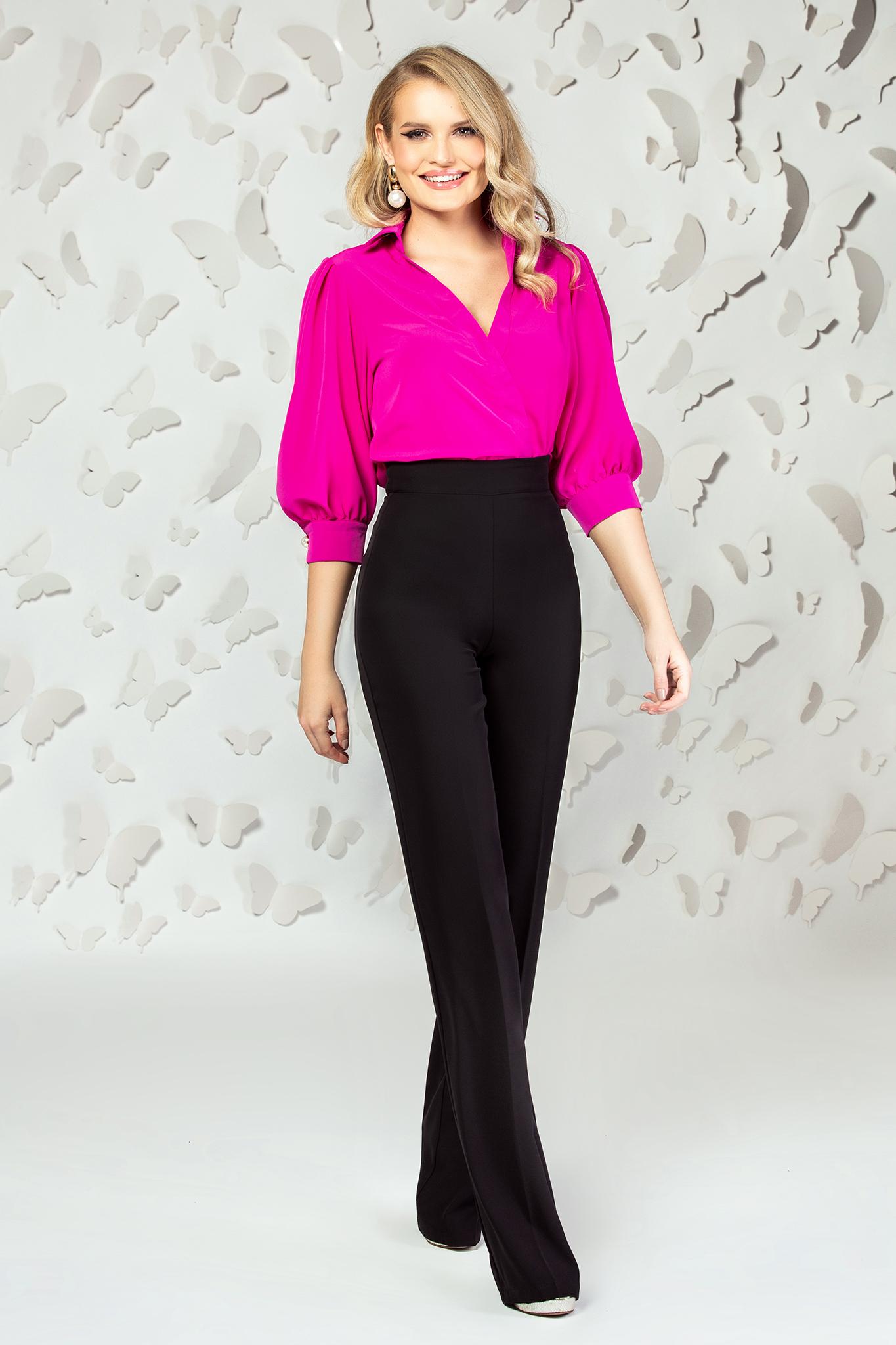 Black elegant flared high waisted trousers