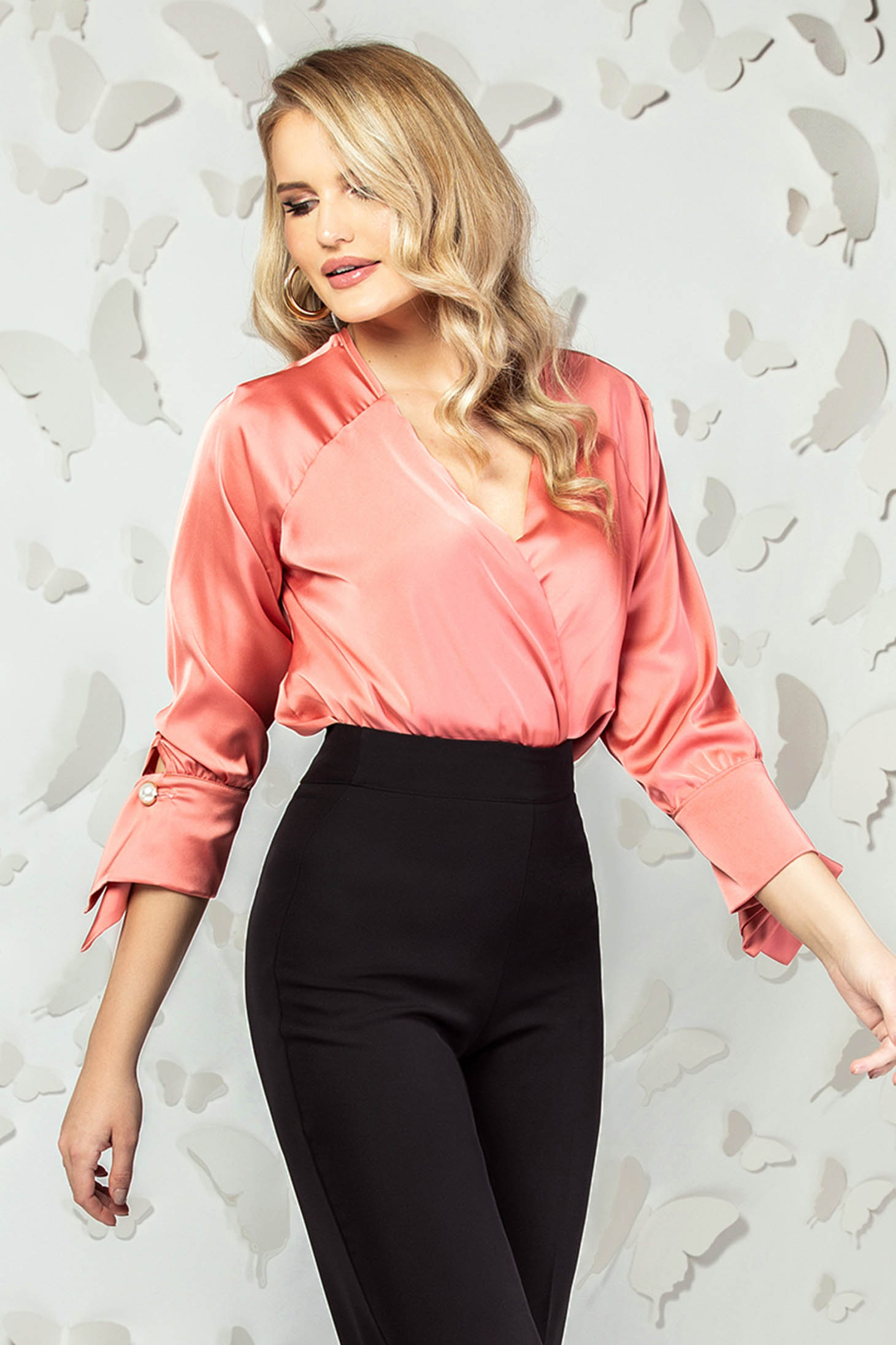 Coral elegant short cut flared women`s blouse from satin with v-neckline