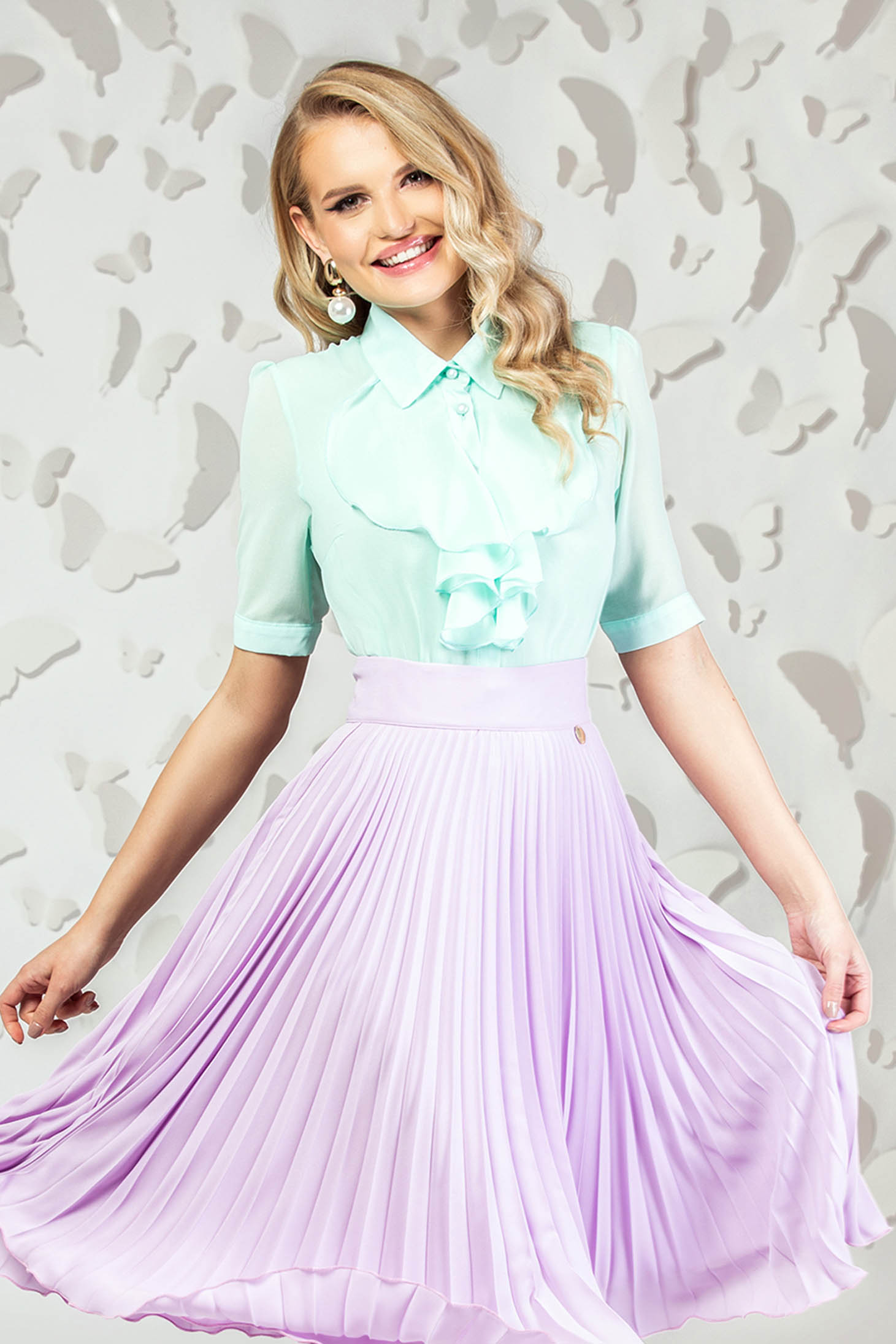 Mint elegant short cut women`s shirt from veil fabric short sleeves with ruffles on the chest