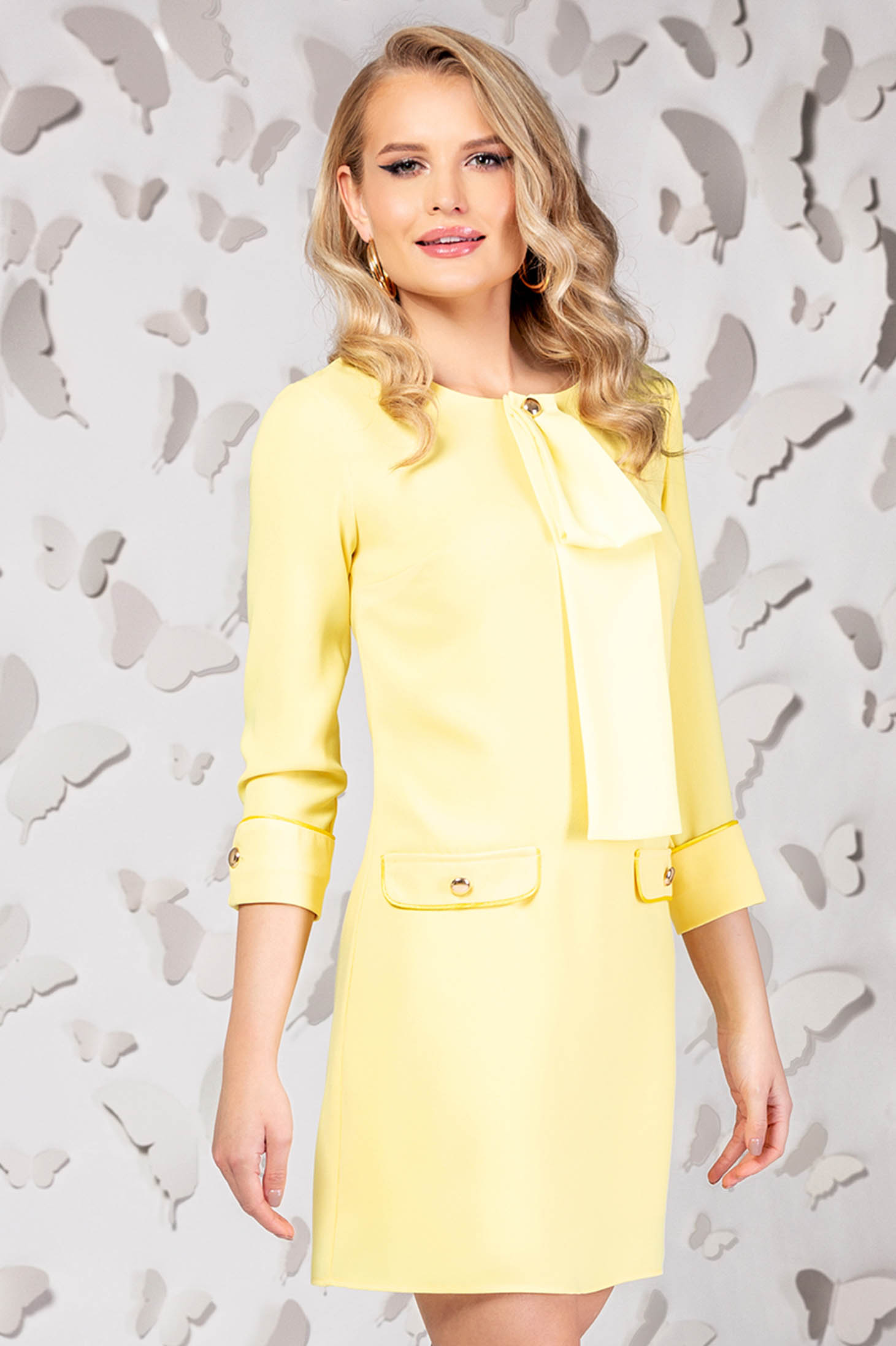 Yellow elegant straight short cut dress