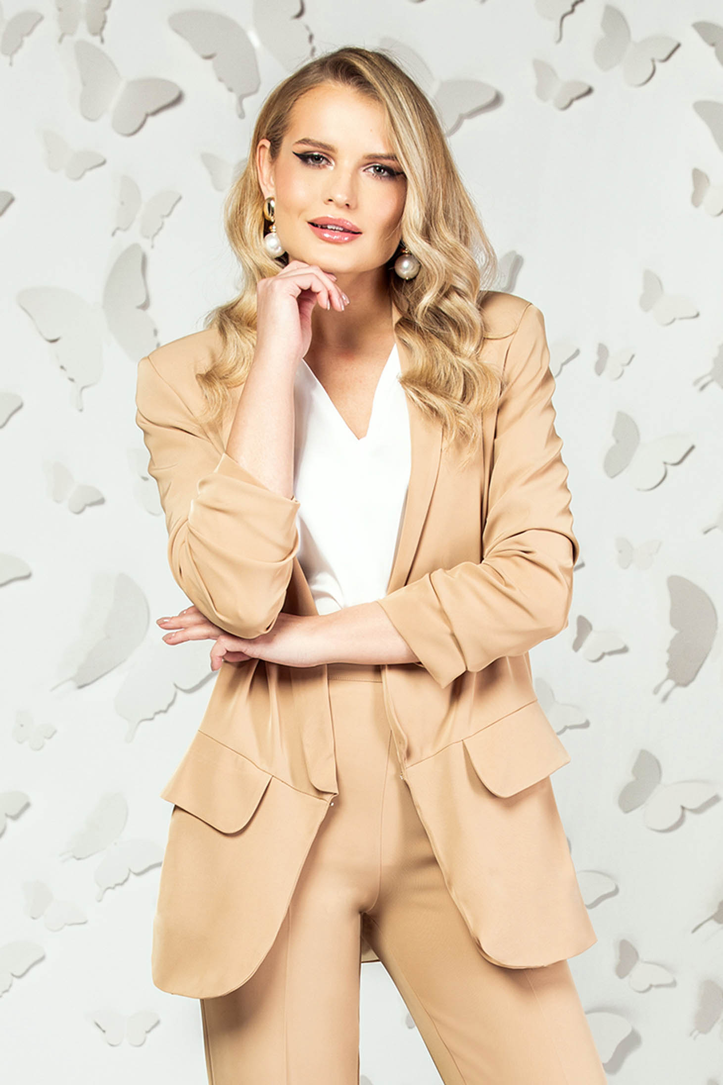 Cream jacket office long flared with pockets