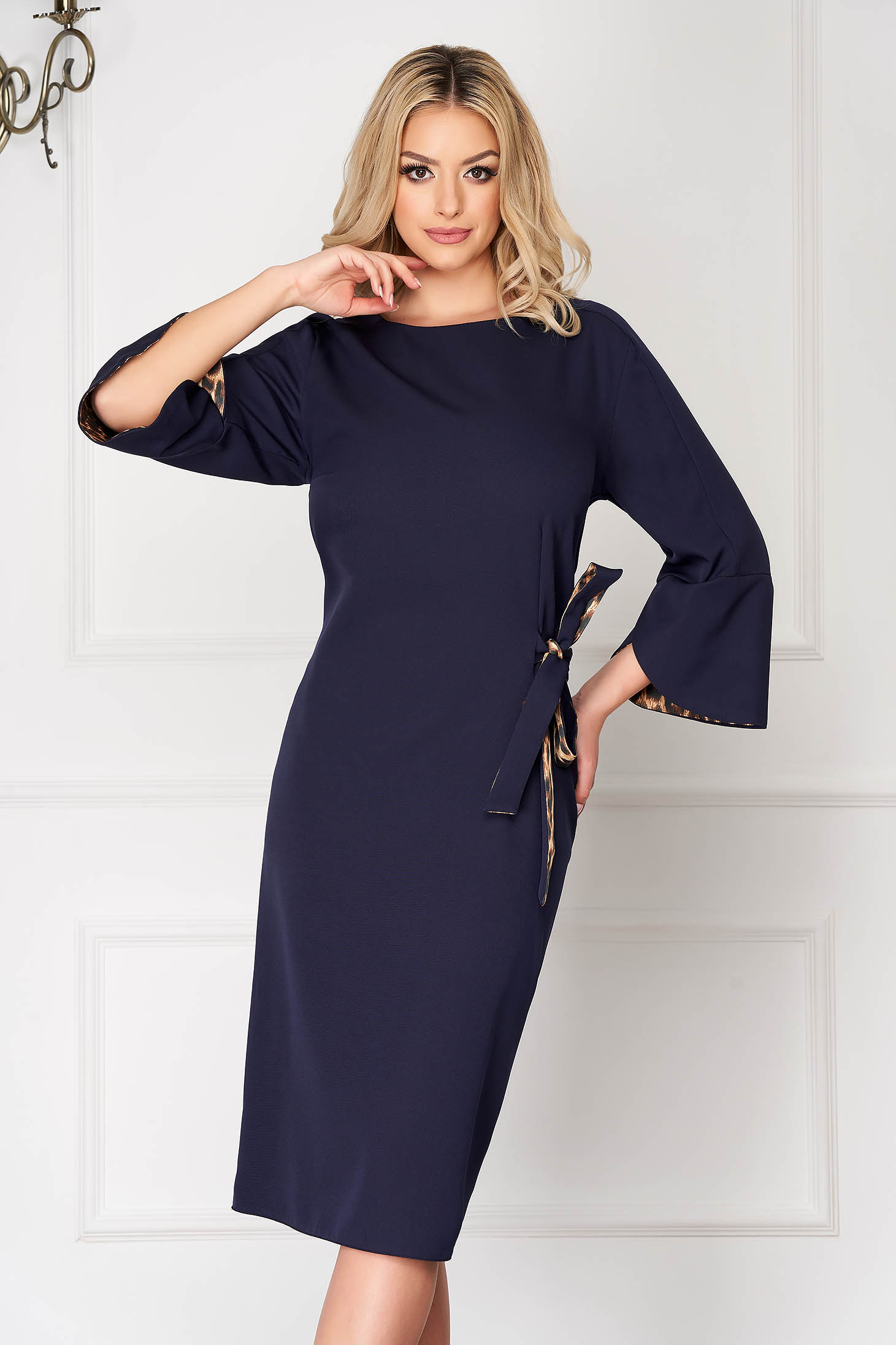 Darkblue midi office dress straight with bell sleeve