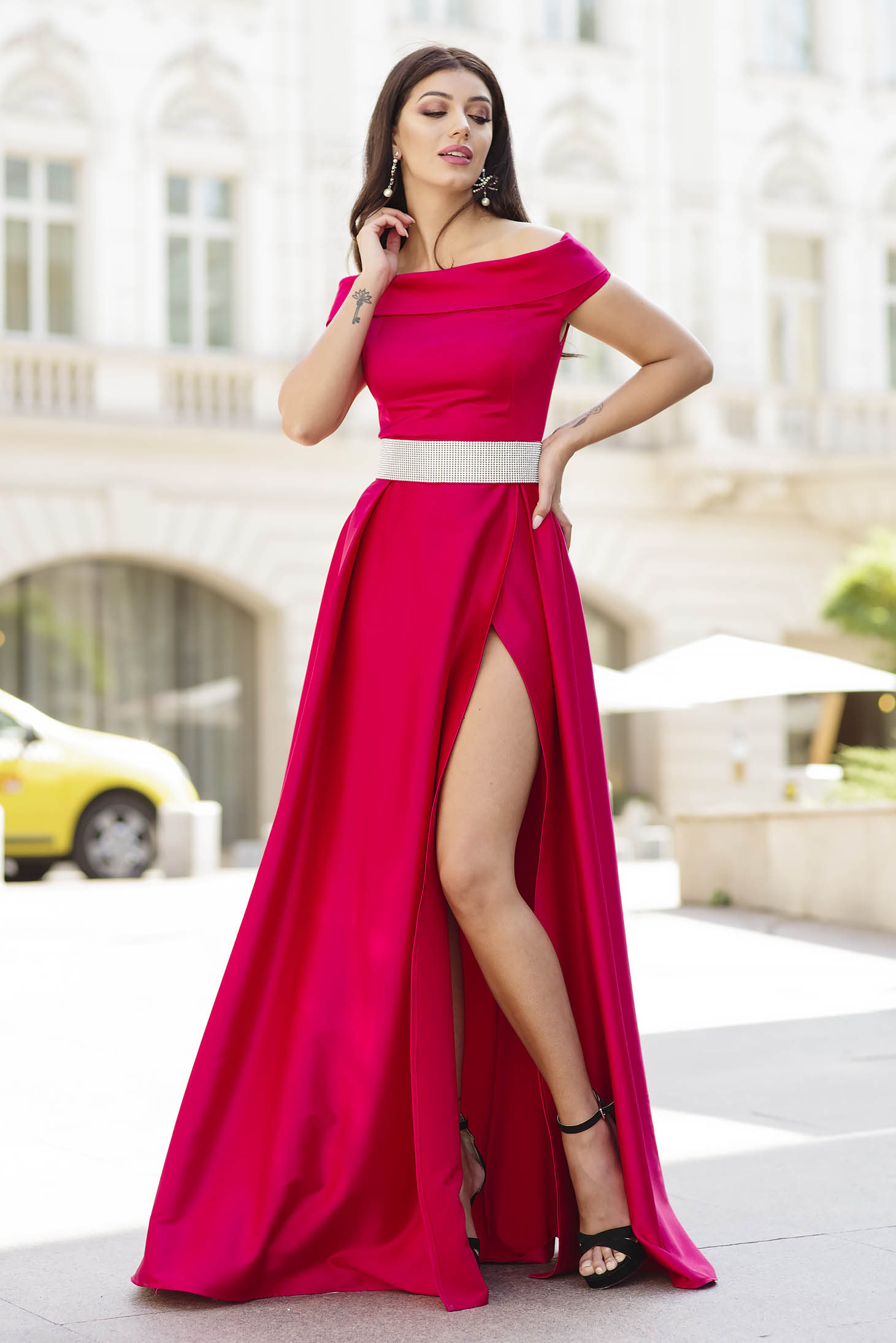 Red dress occasional long cloche from satin slit naked shoulders