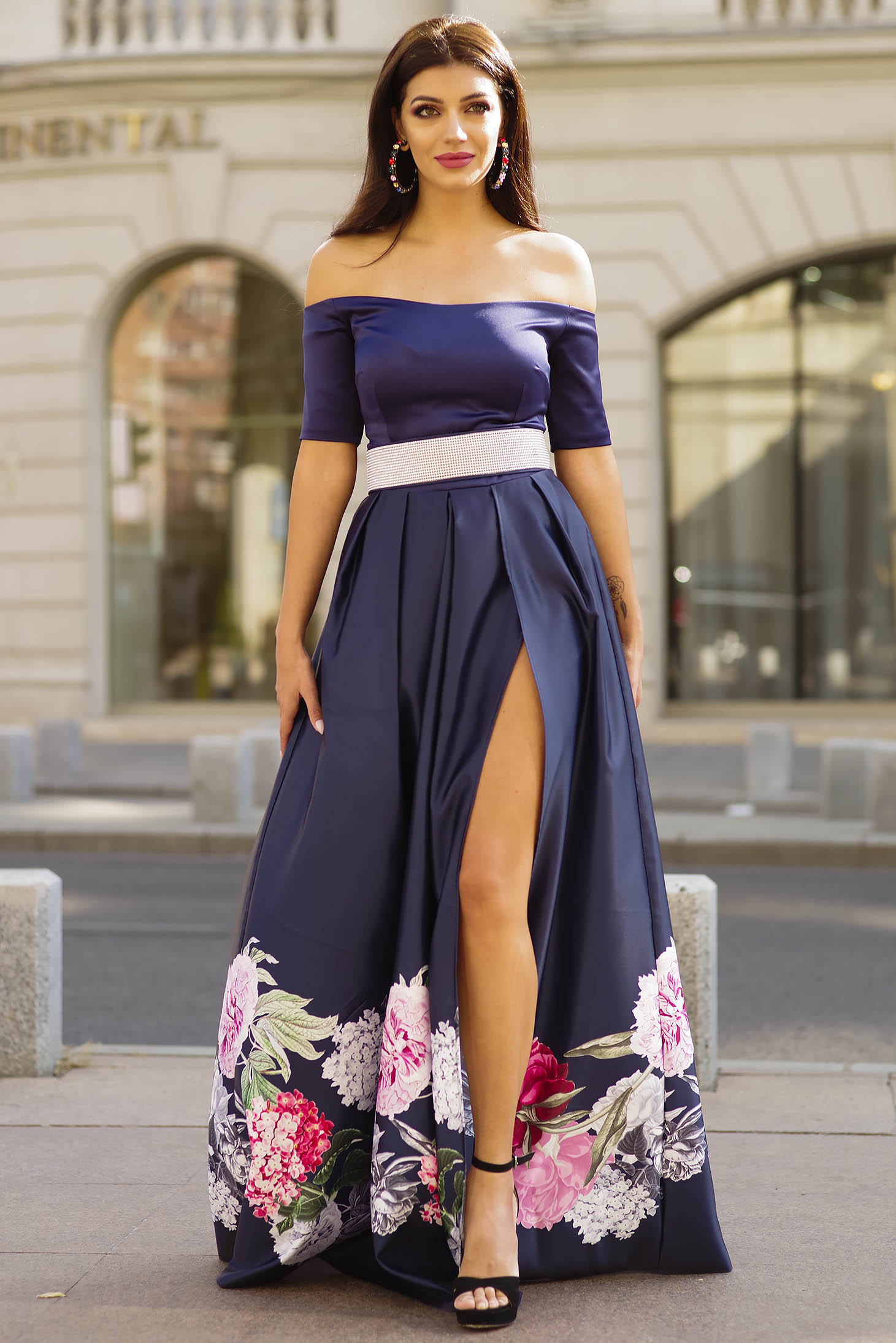 Darkblue dress occasional long cloche with floral print naked shoulders