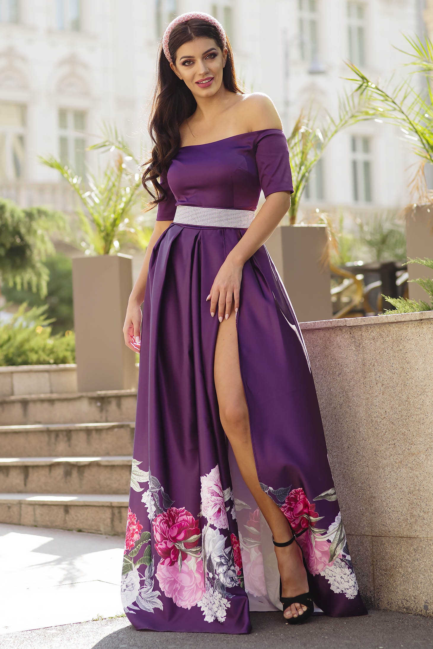 Purple dress occasional long cloche with floral print naked shoulders