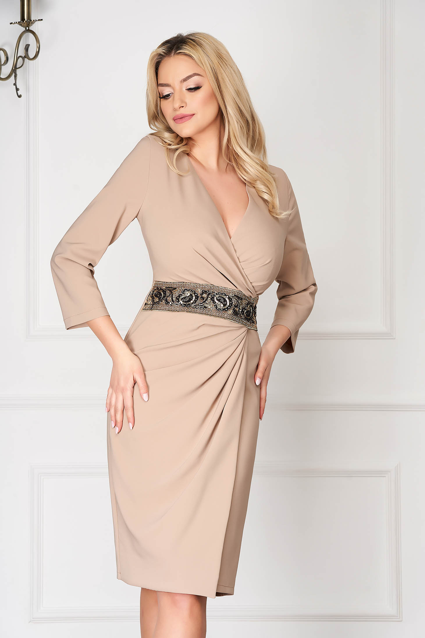 Cream elegant midi pencil dress wrap around accessorized with a waistband
