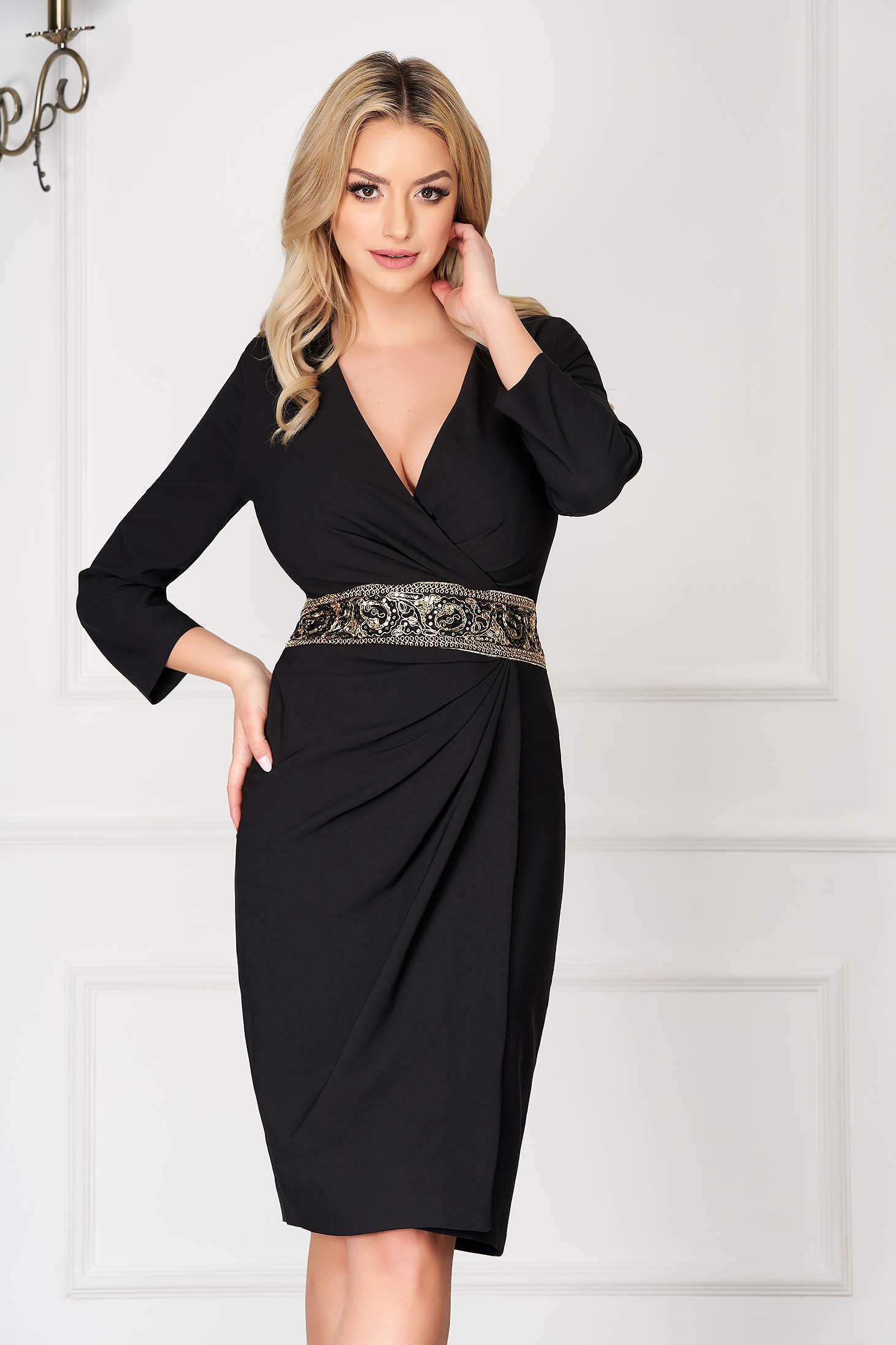 Black elegant midi pencil dress wrap around accessorized with a waistband