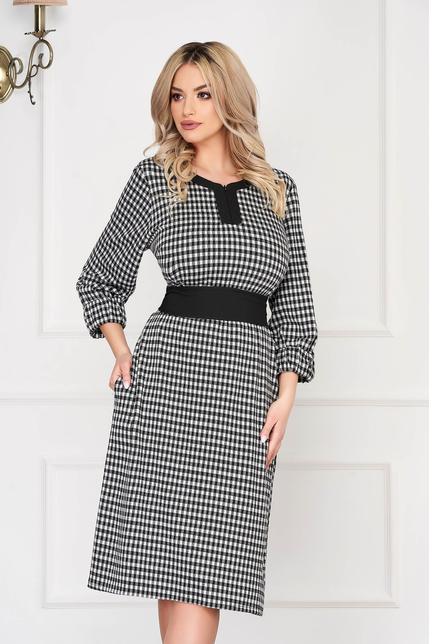 Black dress office midi straight with pockets long sleeved