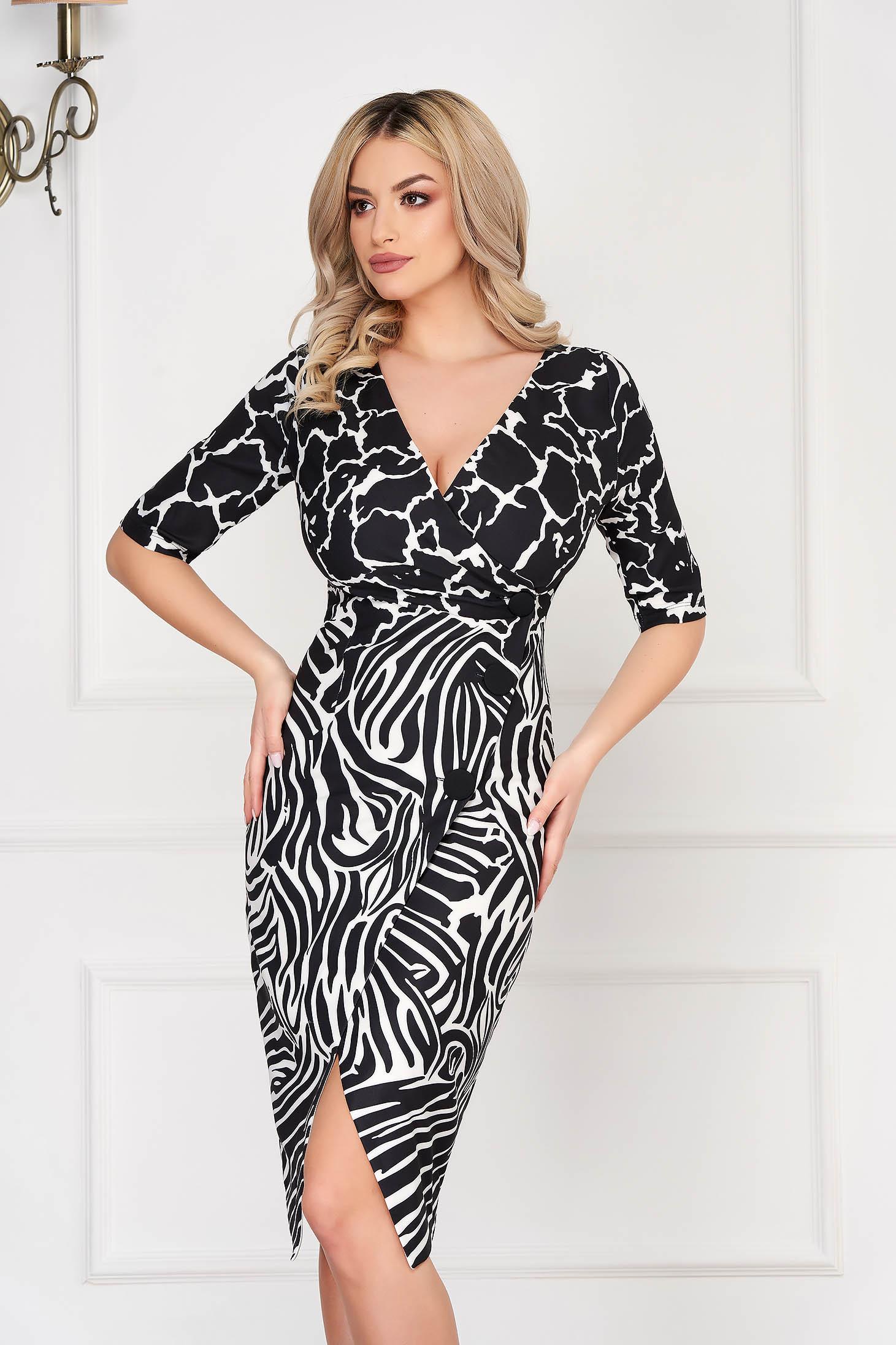 Black dress office midi pencil wrap over skirt slightly elastic fabric