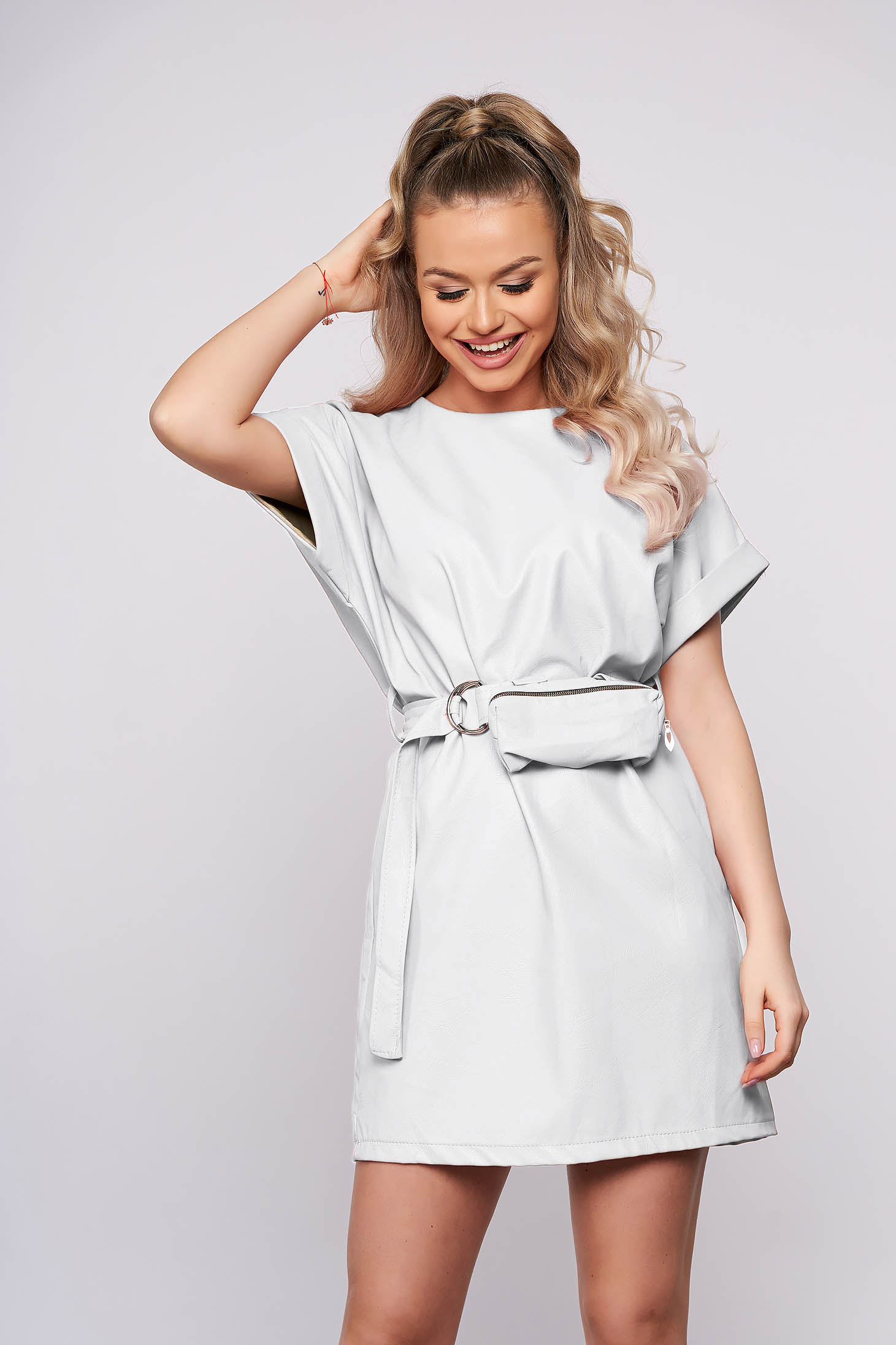 White casual straight short cut dress from ecological leather accessorized with belt