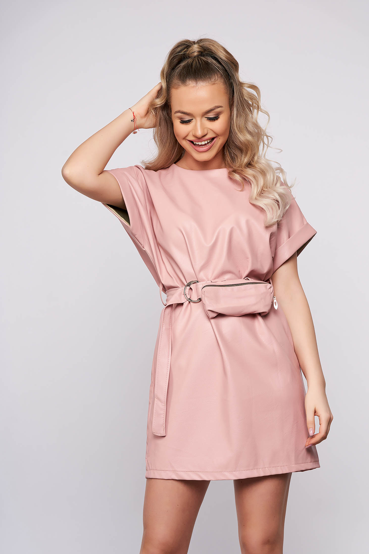Pink casual straight short cut dress from ecological leather accessorized with belt