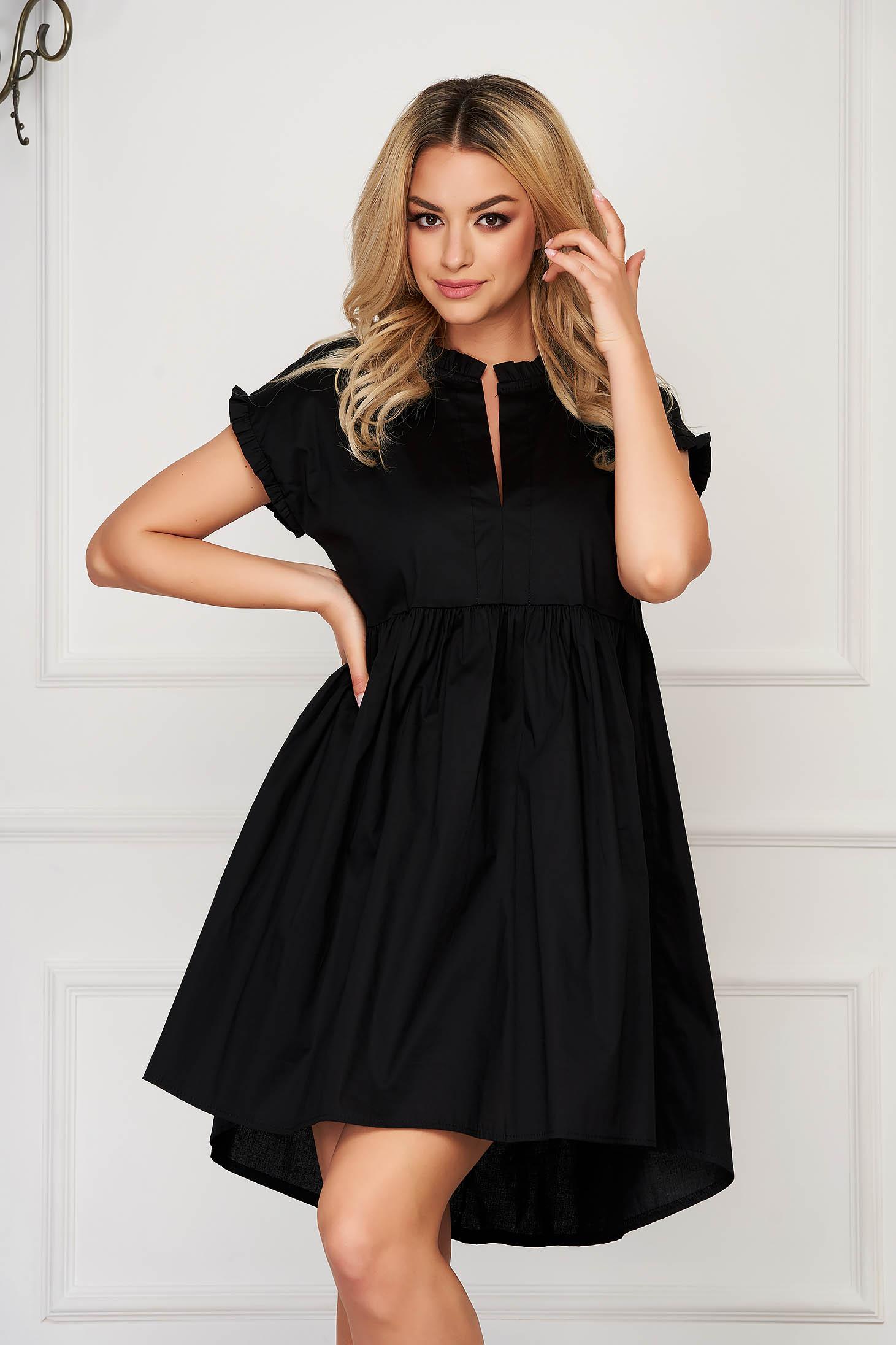 Black casual midi dress poplin, thin cotton asymmetrical short sleeves