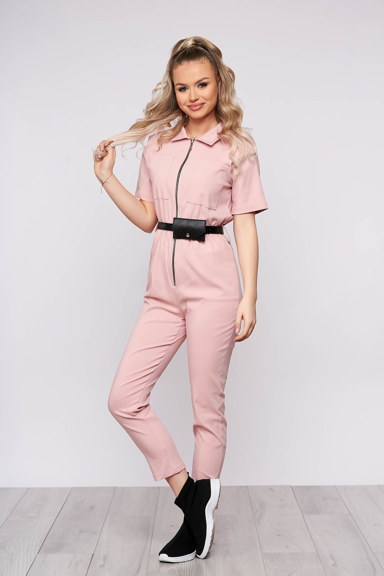 Lightpink casual long jumpsuit from elastic fabric with tented cut
