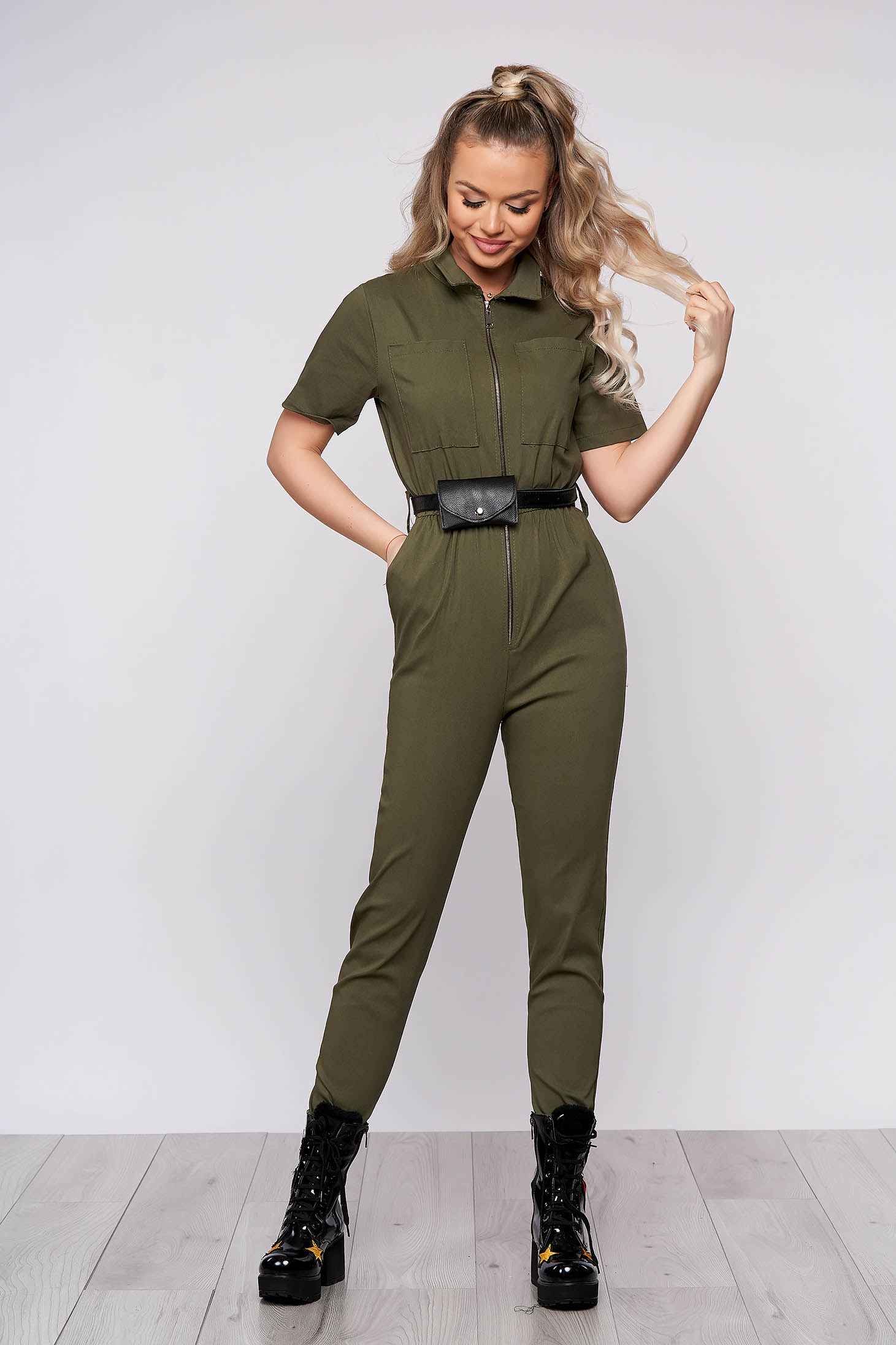 Khaki casual long jumpsuit from elastic fabric with tented cut