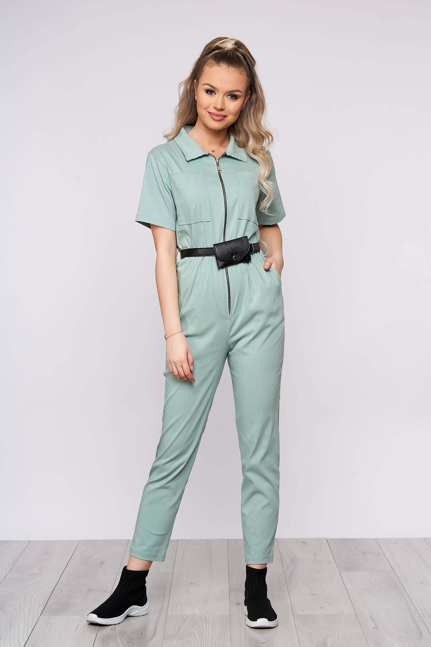 Lightgreen casual long jumpsuit from elastic fabric with tented cut