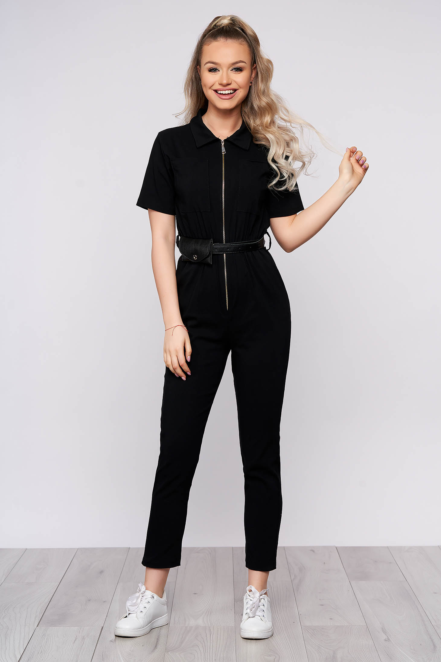 Black casual long jumpsuit from elastic fabric with tented cut