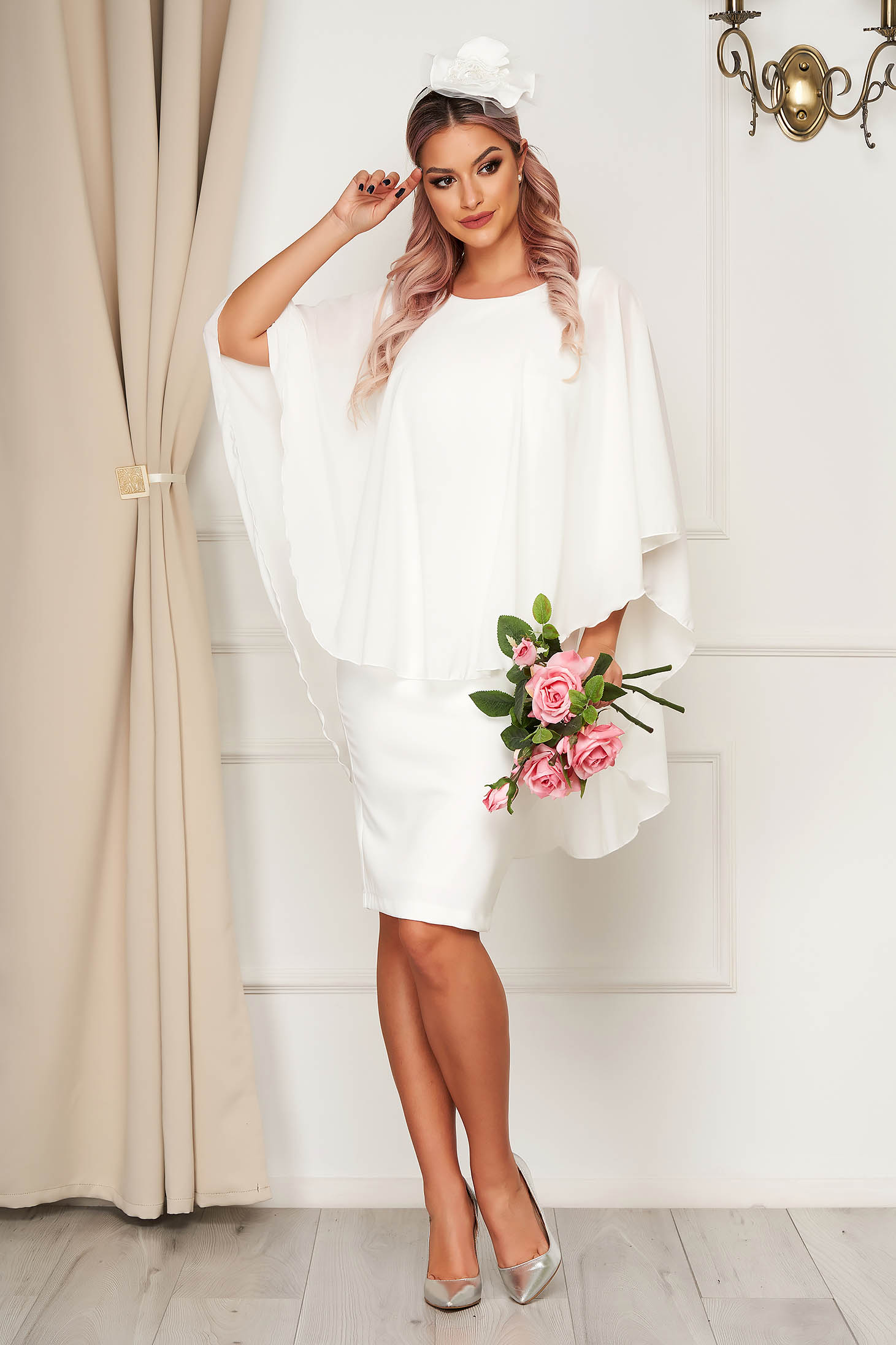 Dress StarShinerS white midi pencil cloth elegant voile overlay