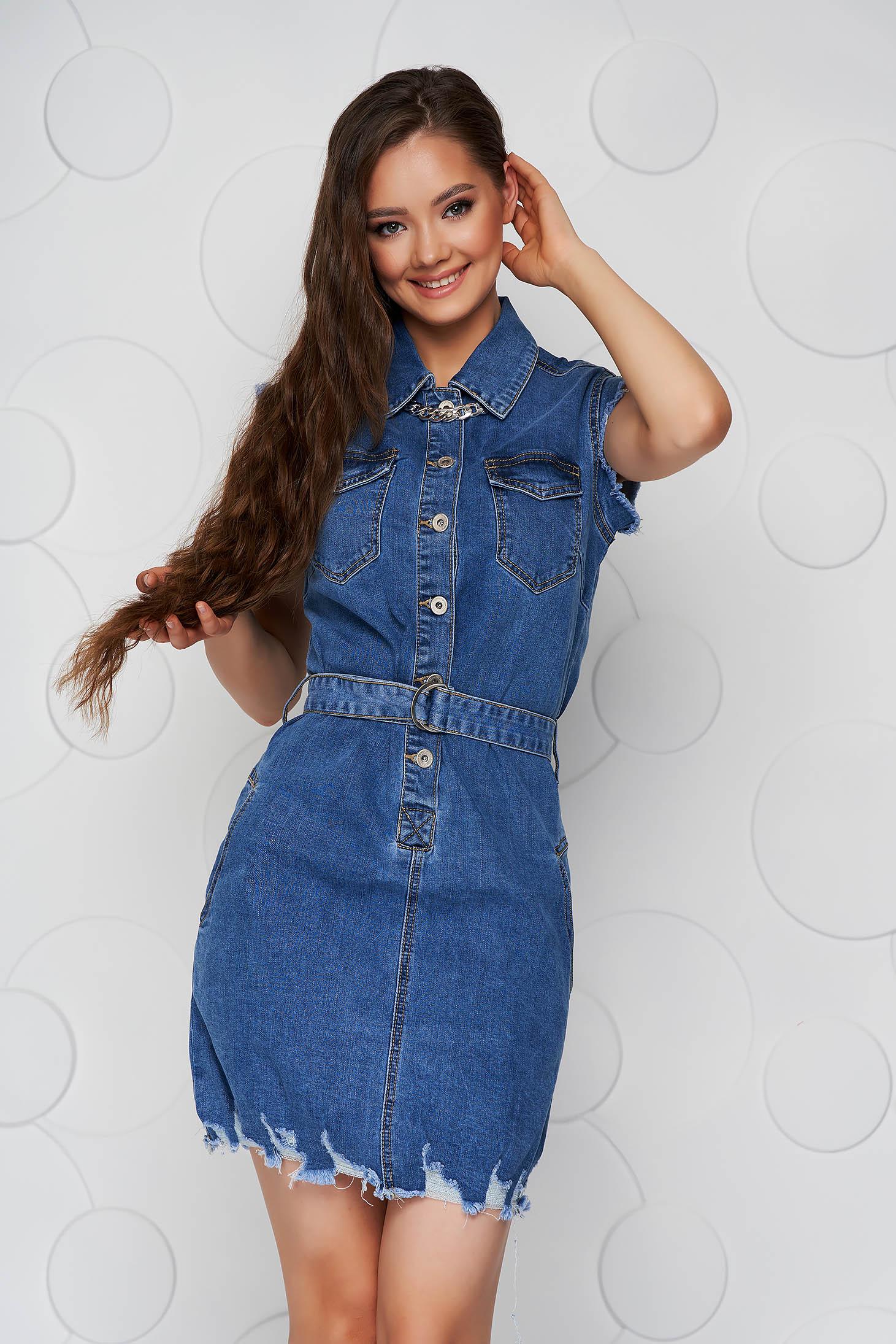 Blue casual short cut denim sleeveless dress with pockets