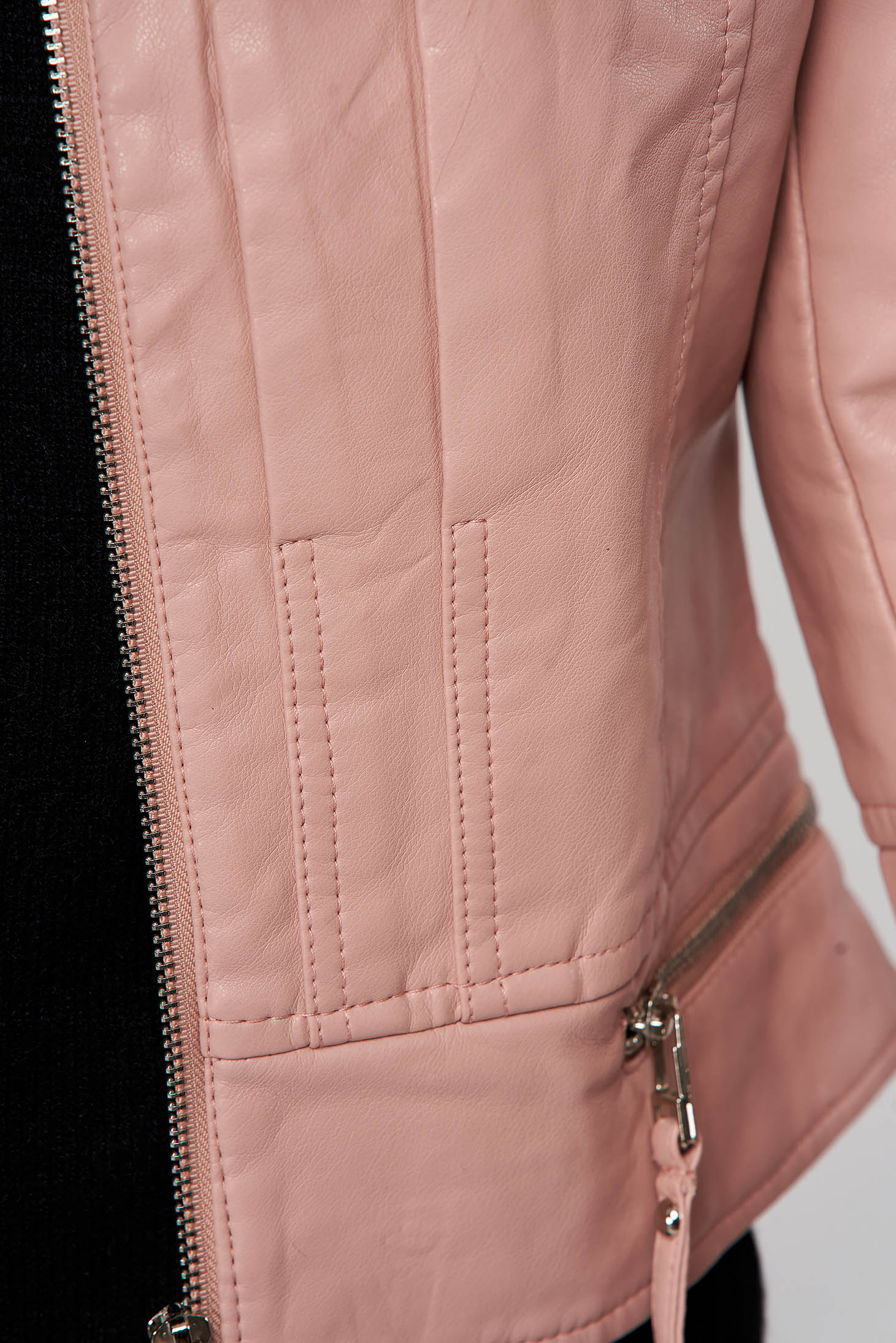 Lightpink casual short cut jacket from ecological leather with turtle neck