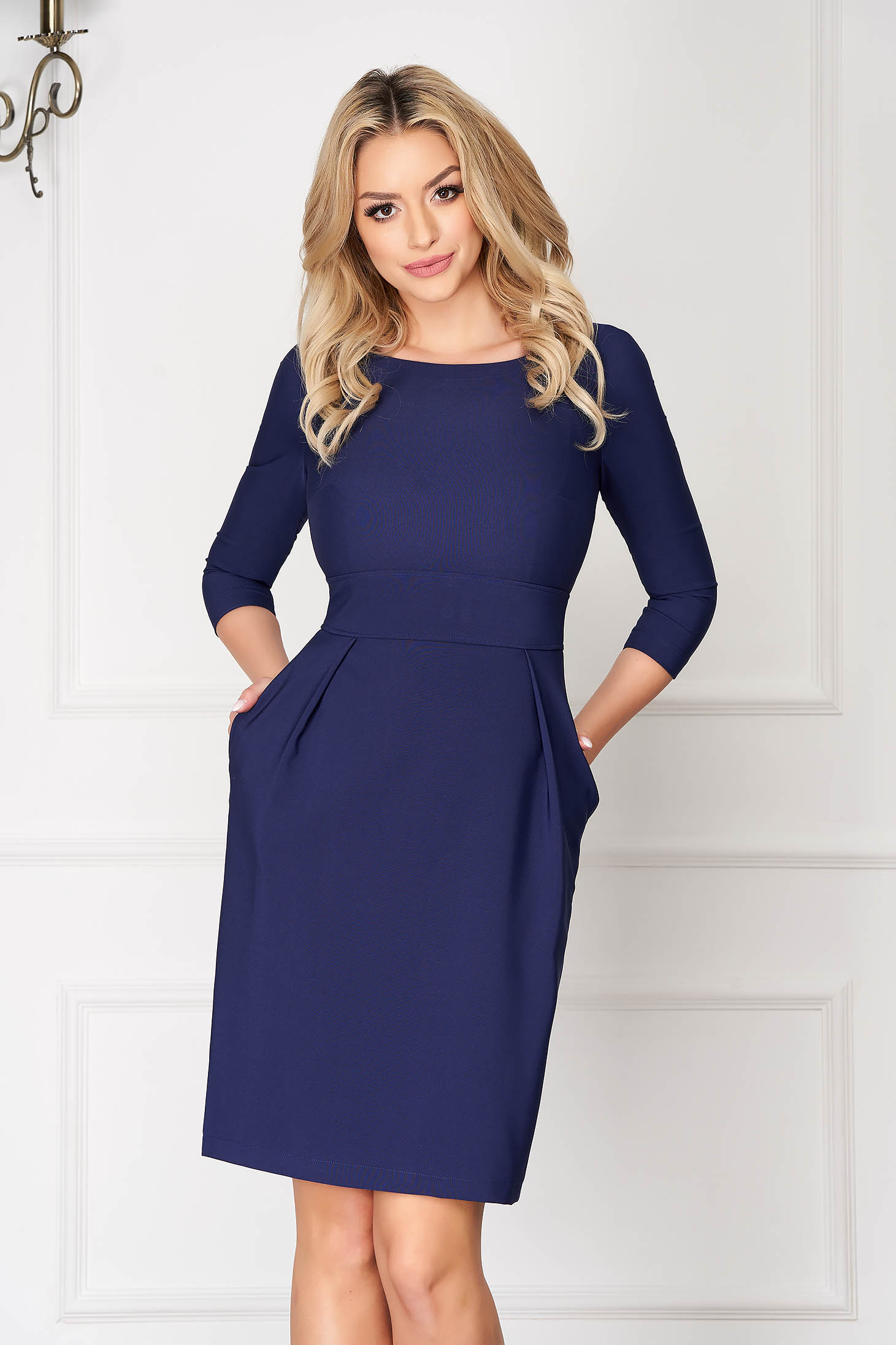 StarShinerS darkblue office dress slightly elastic fabric with pockets short cut a-line