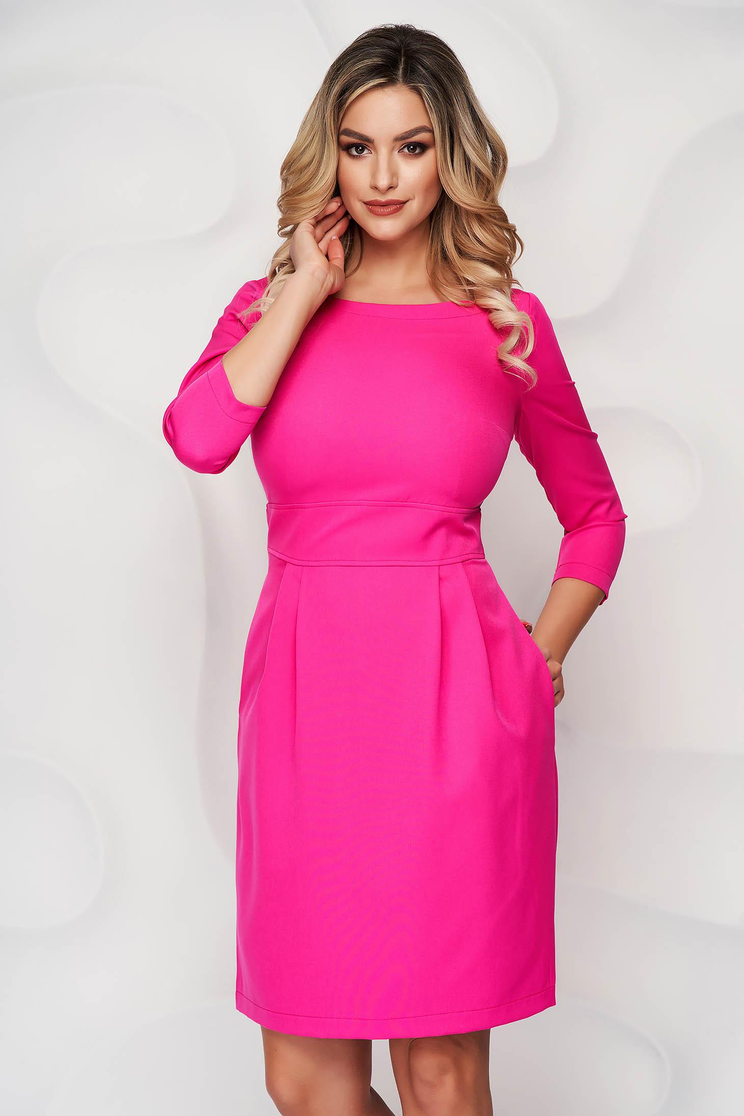 StarShinerS fuchsia office dress slightly elastic fabric with pockets short cut a-line