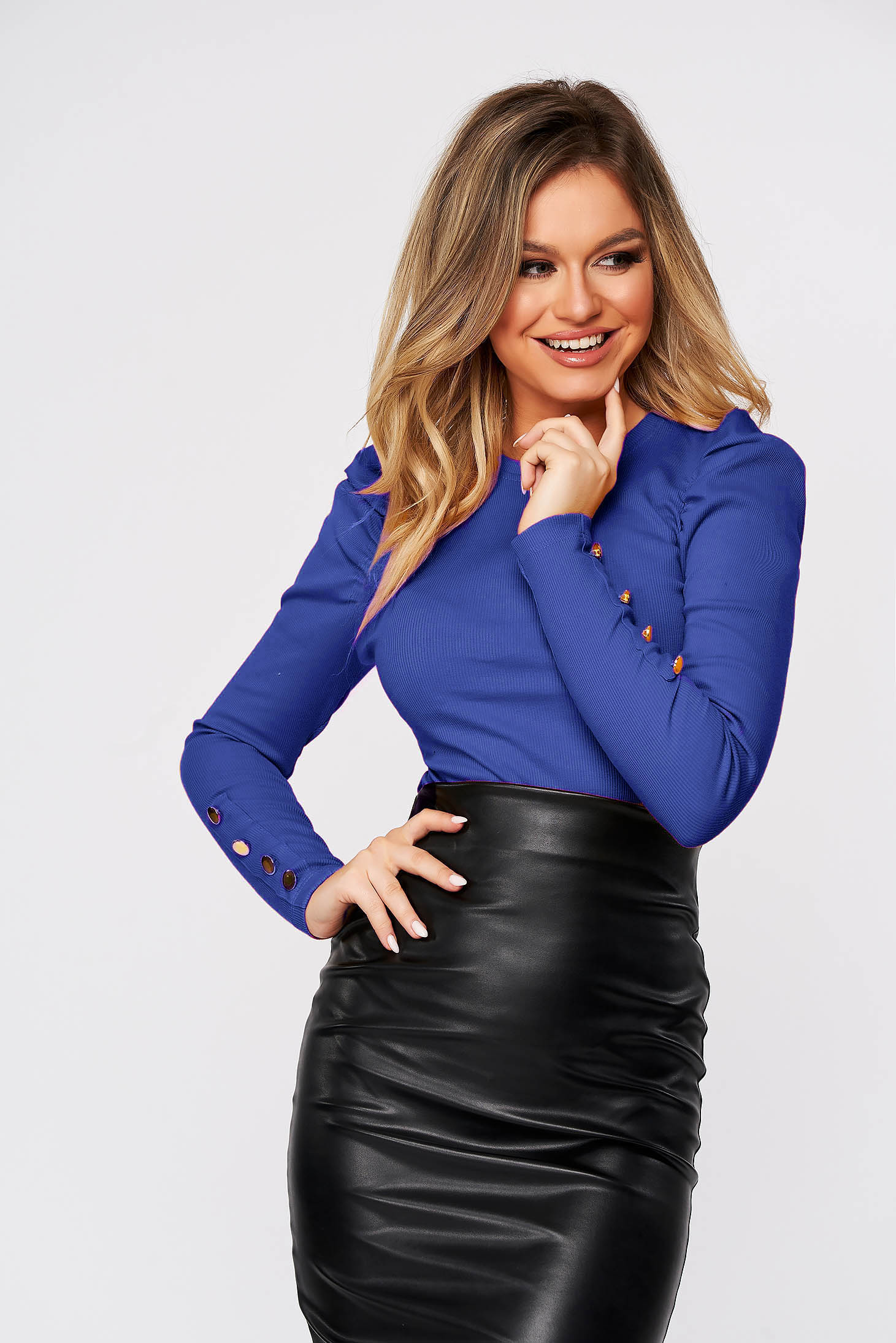 Blue short cut tented cotton women`s blouse high shoulders