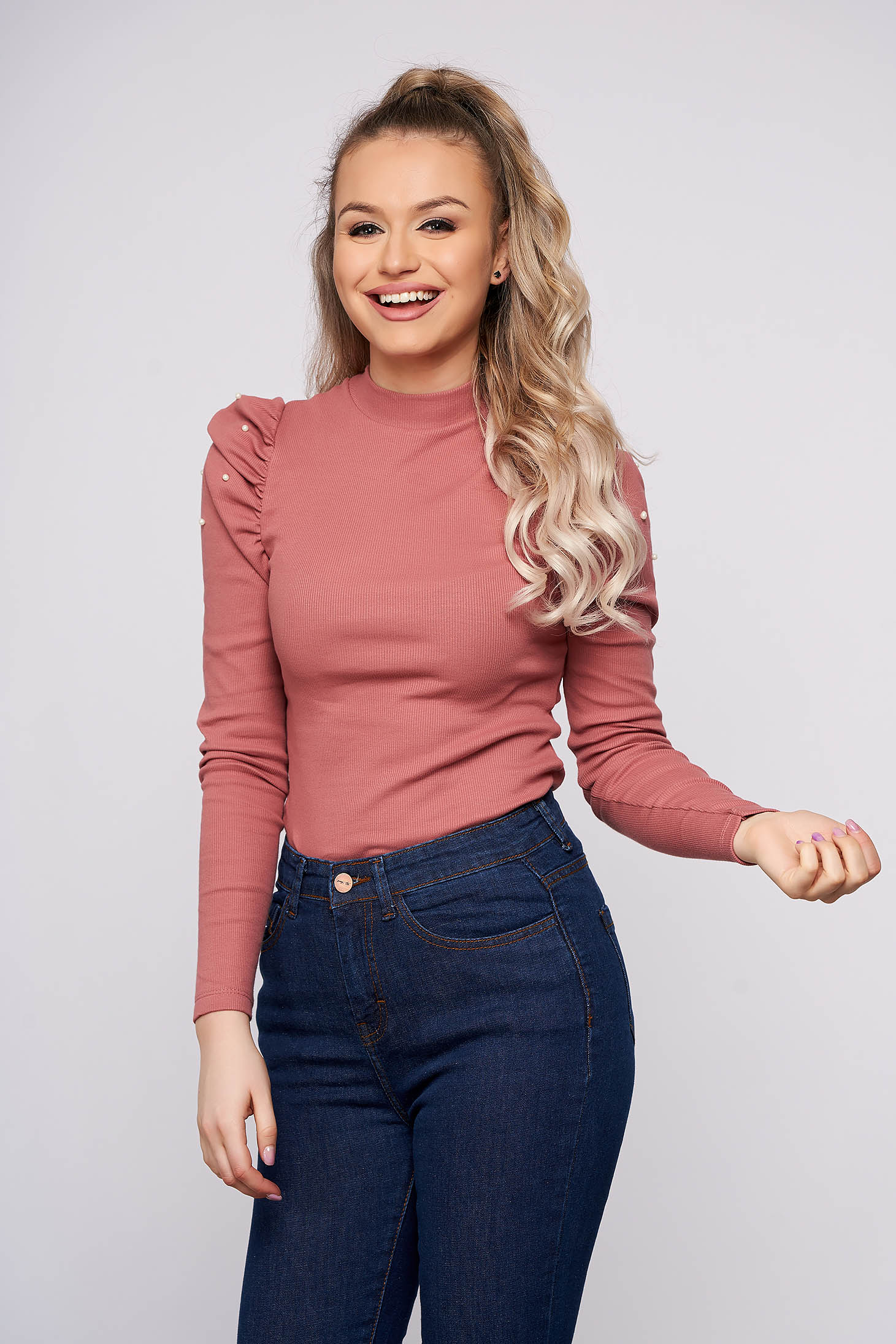 Lightpink elegant short cut cotton women`s blouse with turtle neck high shoulders tented