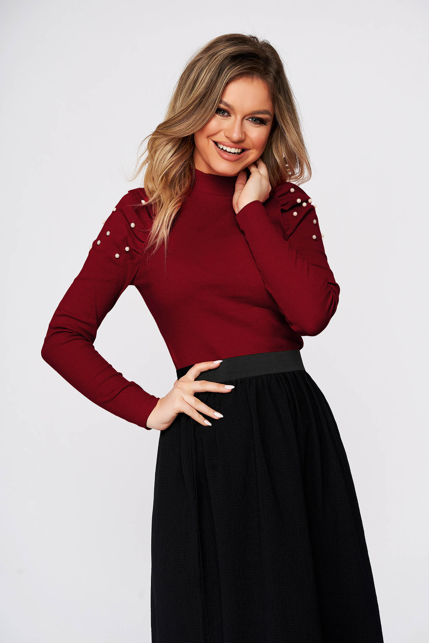 Burgundy elegant short cut cotton women`s blouse with turtle neck high shoulders tented