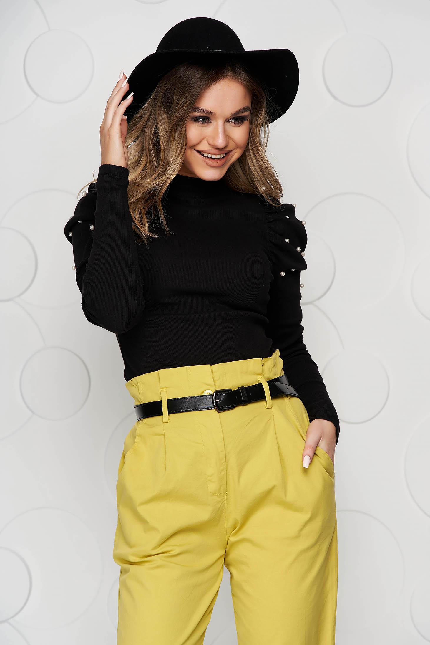 Black elegant short cut cotton women`s blouse with turtle neck high shoulders tented