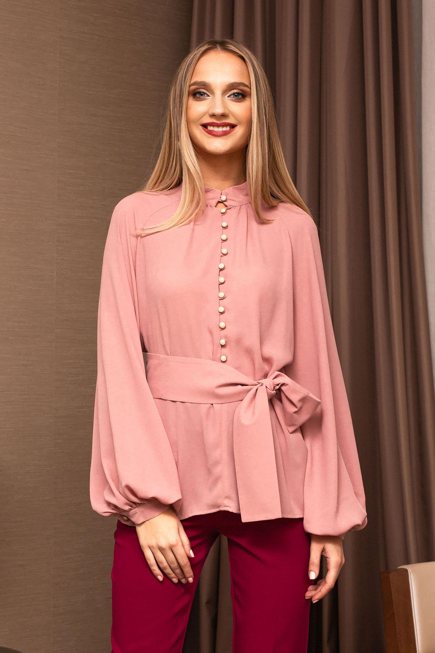 Bluza dama PrettyGirl roz prafuit eleganta din voal cu croi larg cu maneci bufante cu maneci clopot
